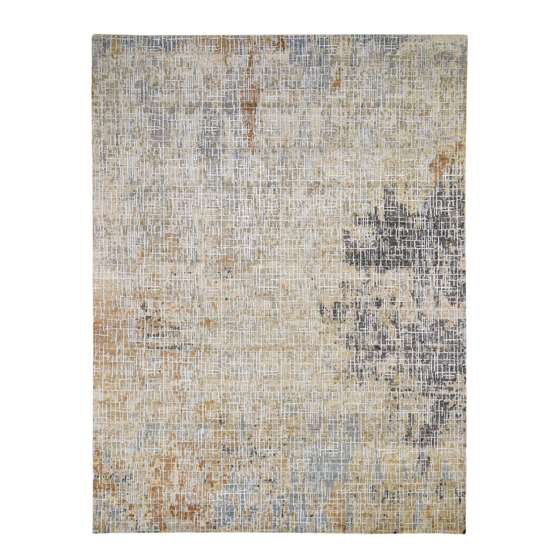 "8'10""x12'1"" Beige Abstract Design Wool and Silk Tight Knot Hand Woven Oriental Rug"