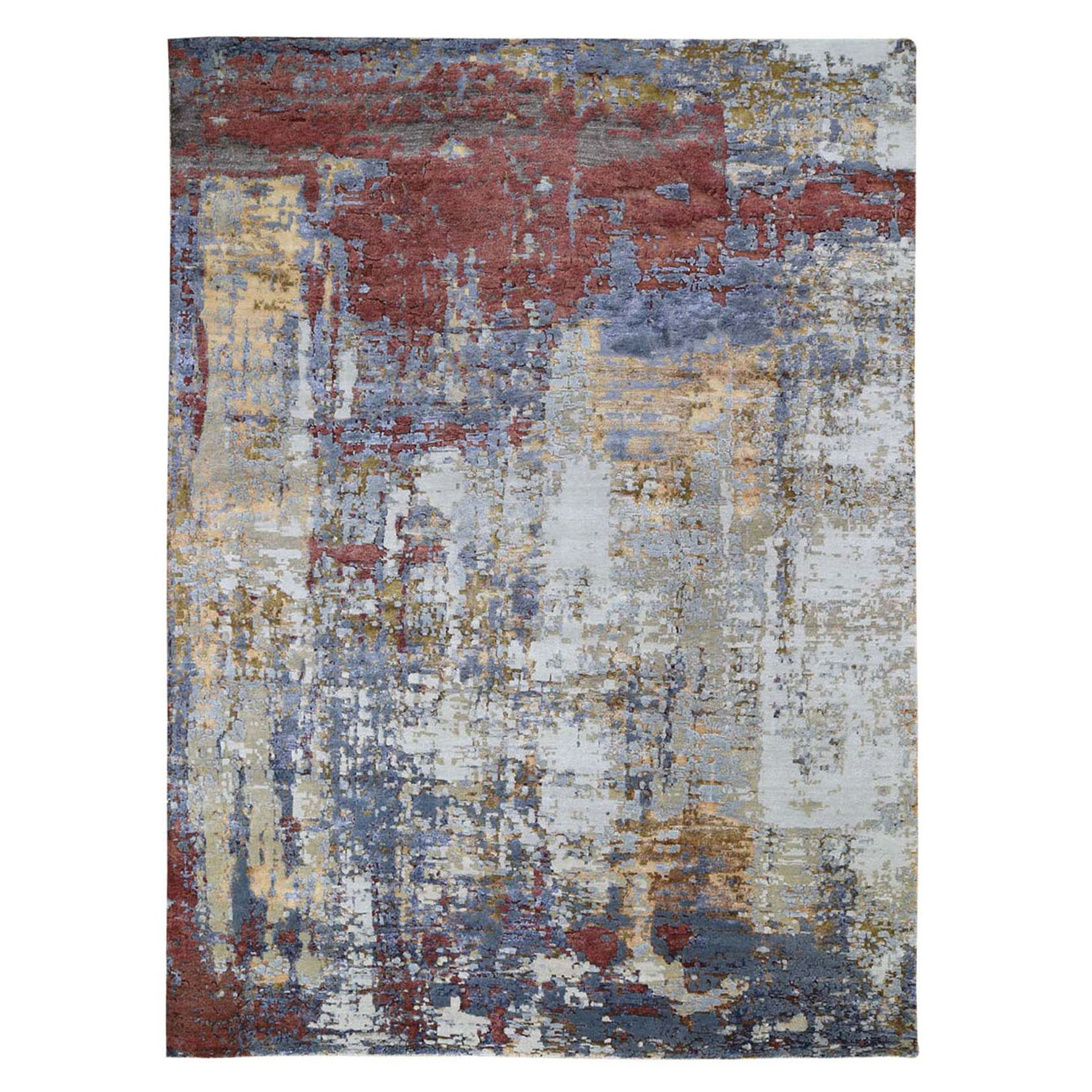 9'x12' Red Wool and Silk Hi-Low Pile Modern Abstract Design Hand Woven Oriental Rug
