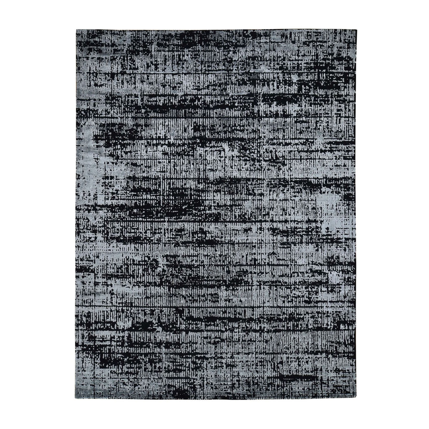 "7'10""x10'1"" Black Fine jacquard Hand-Loomed Modern Wool And Silk Oriental Rug"