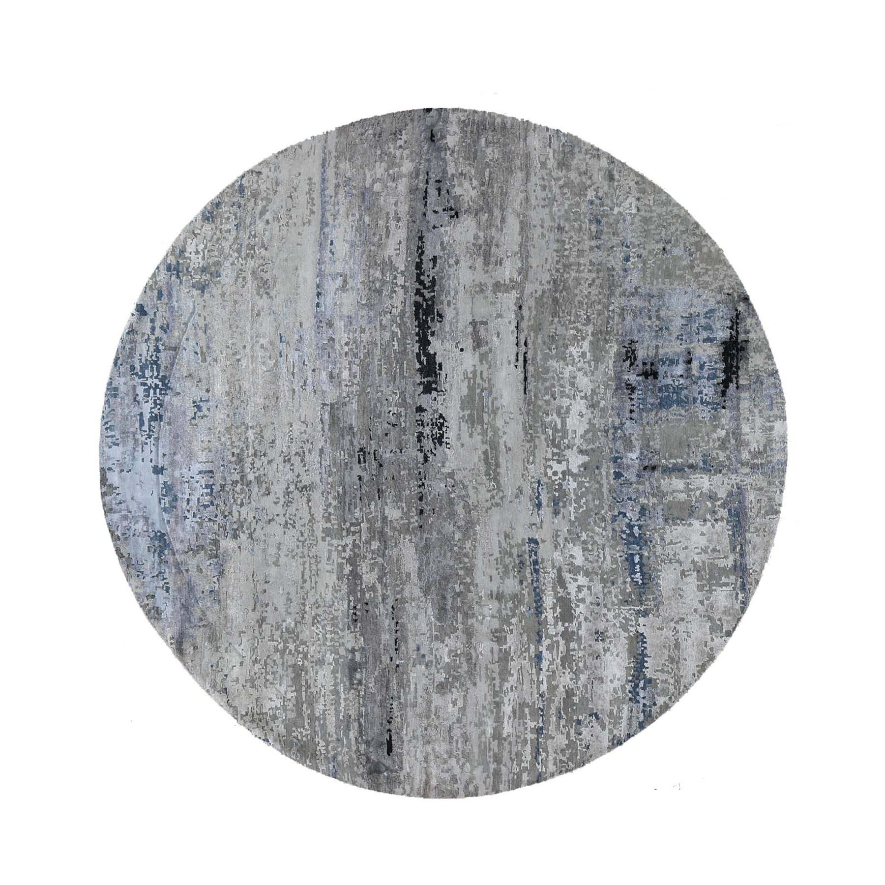 "9'10""x9'10"" Gray Hi low Pile Abstract Design Round Wool And Silk Hand Woven Oriental Rug"