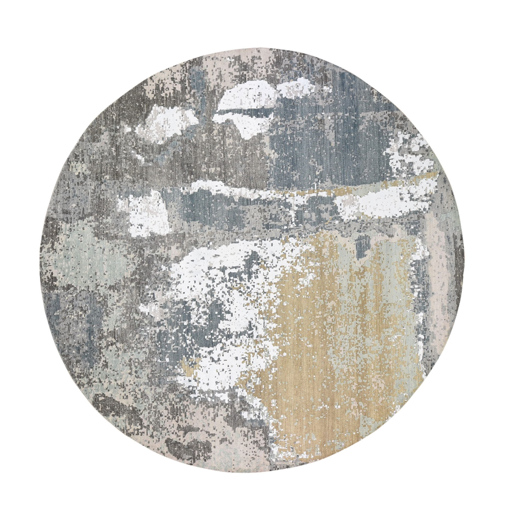 10'x10' Gray Round Abstract Design Wool and Silk Hi-Low Pile Denser Weave Hand Woven Oriental Rug