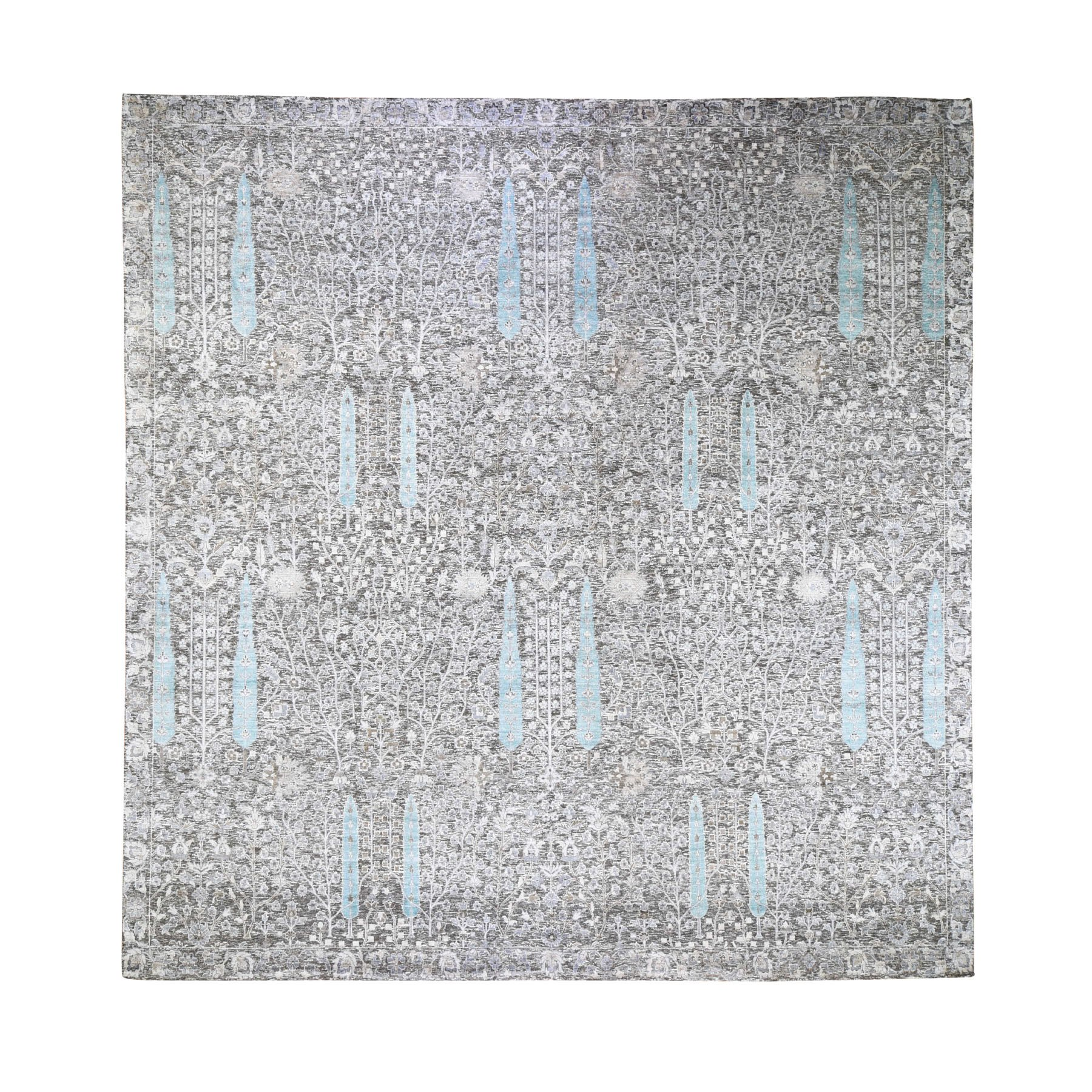 12'x12' Cypress Tree Design Silk with Textured Wool Hand Woven Square Oriental Rug