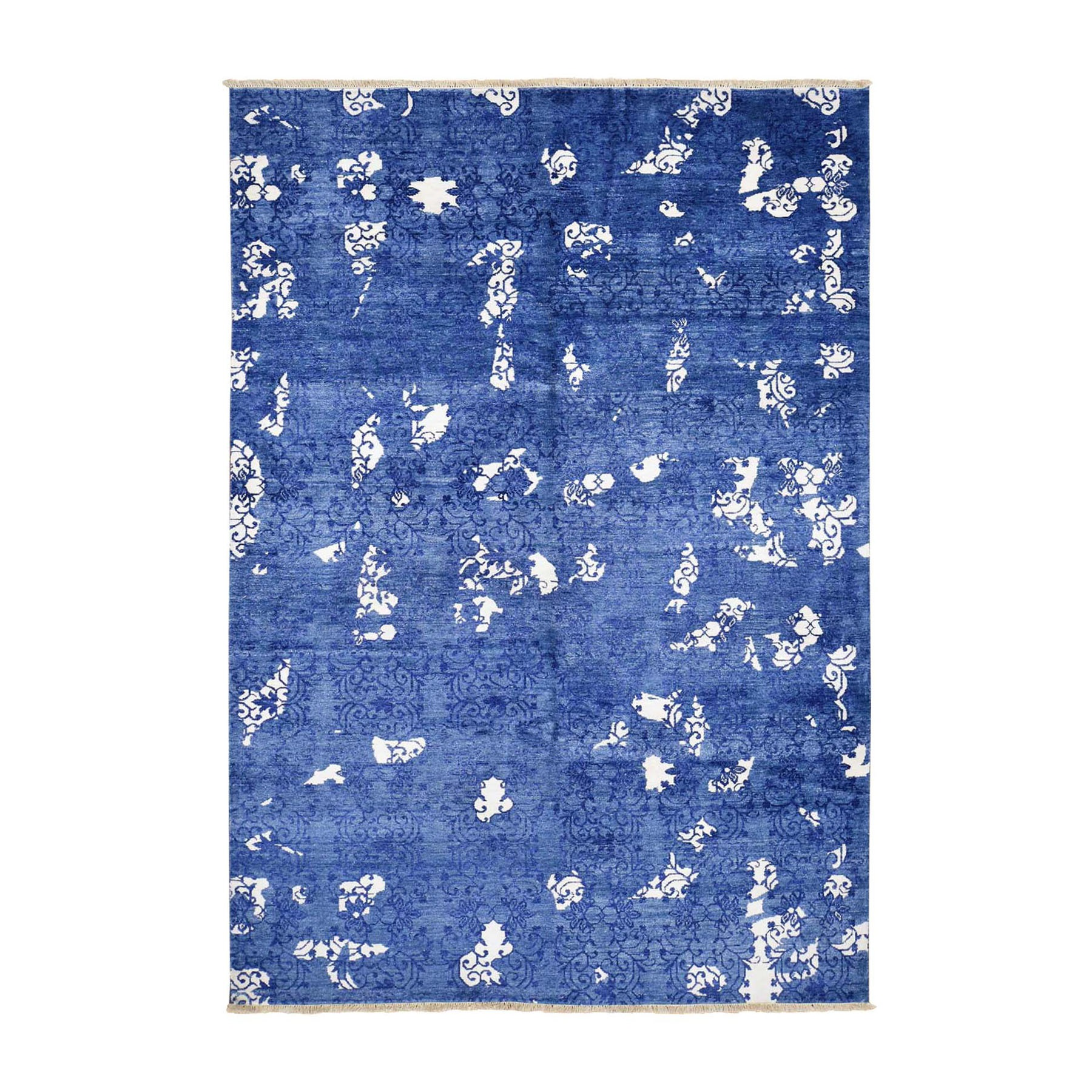 "5'6""x8'  Blue Hand Woven Tone on Tone Modern Wool and Silk Oriental Rug"