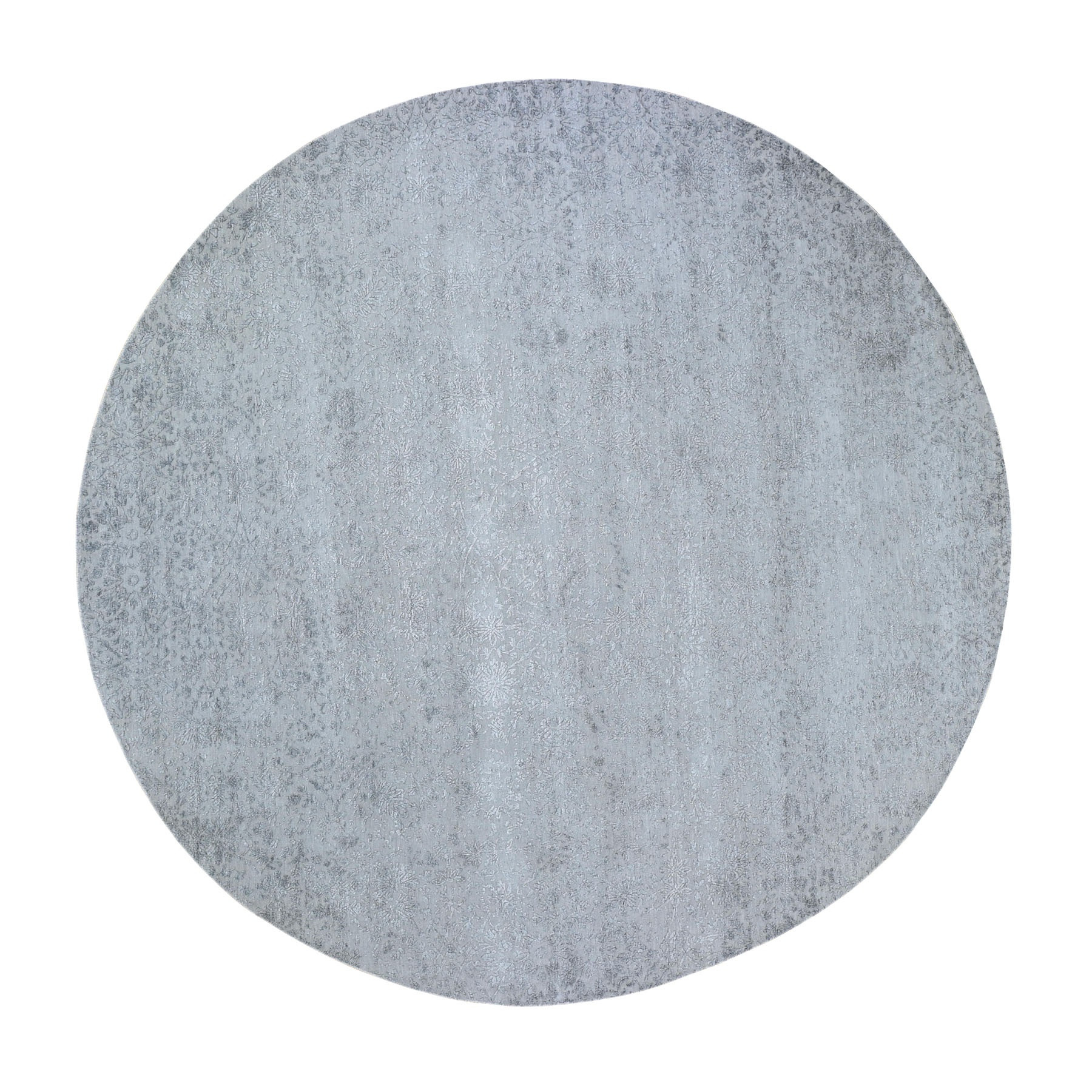 10'x10' Round Silver Erased Design Wool and Silk Hand Woven Oriental Rug