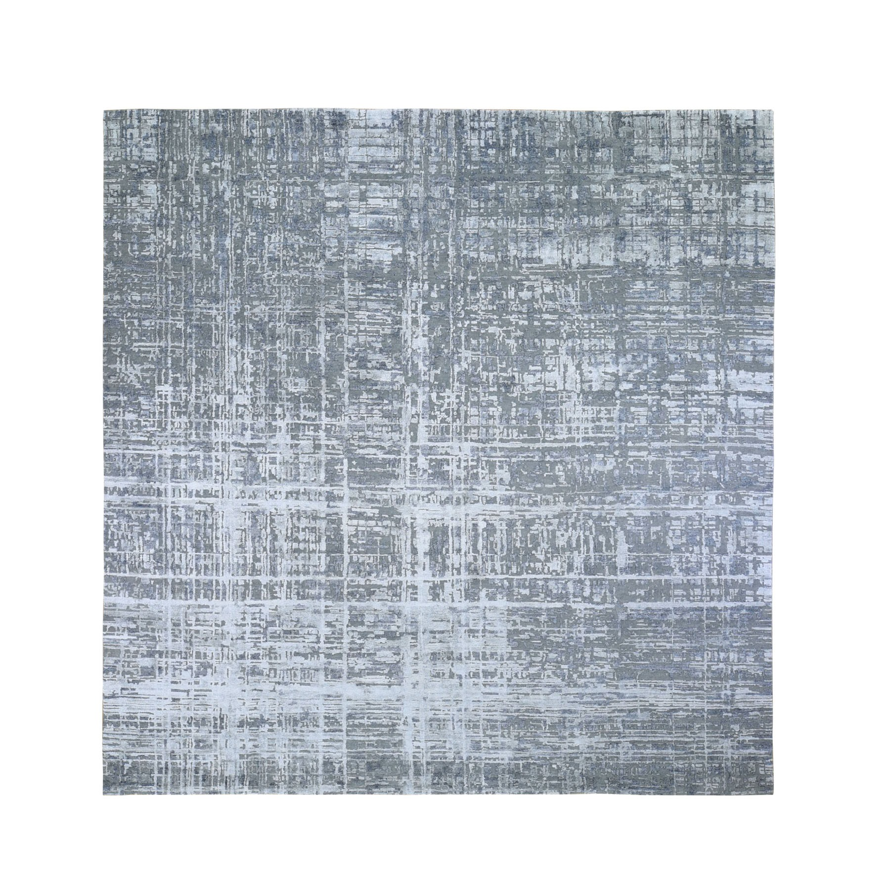 10'x10' Square Gray Abstract Design Wool And Silk Hand Woven Oriental Rug