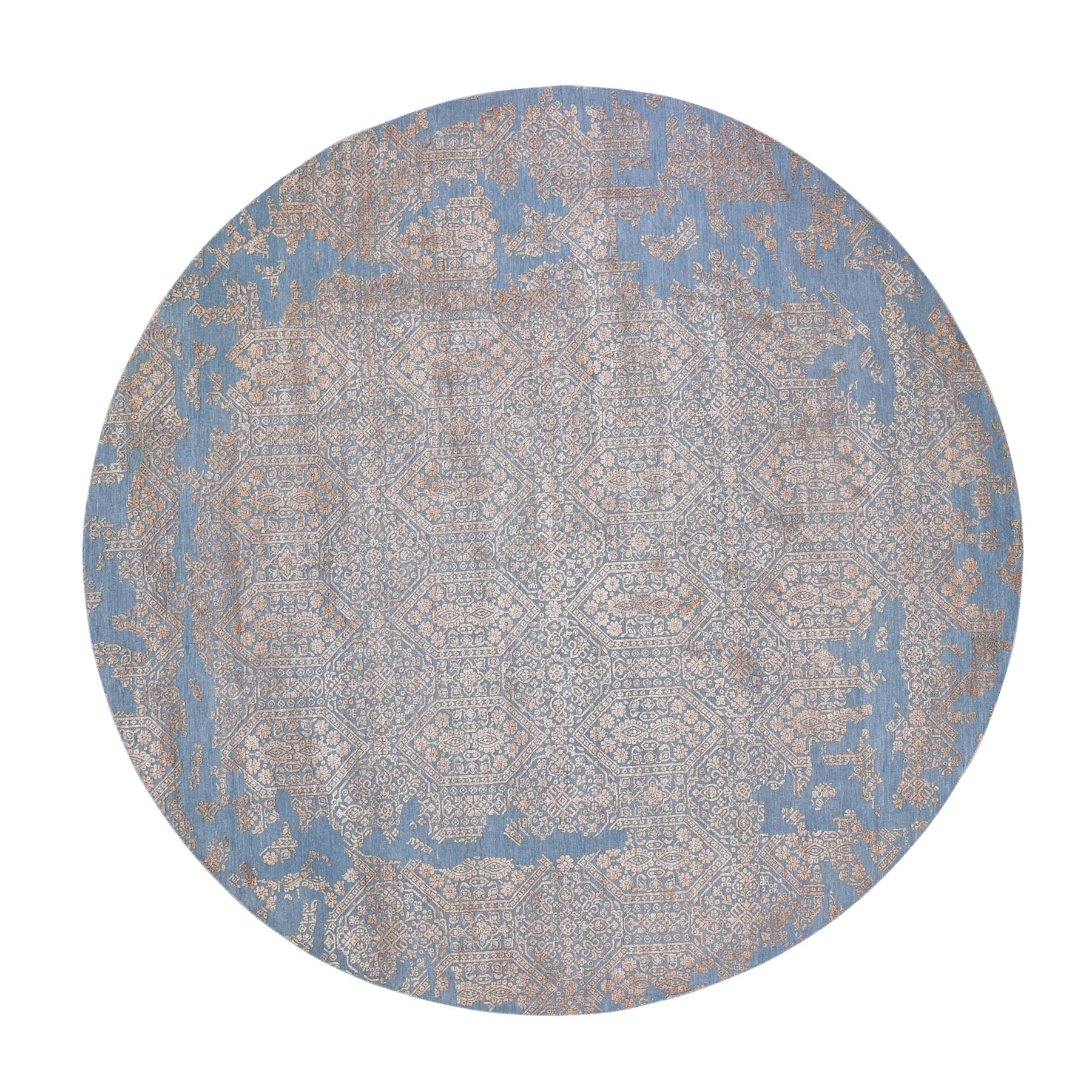 10'x10' Blue Round Transitional Erased Design Wool And Silk Hand Woven Oriental Rug