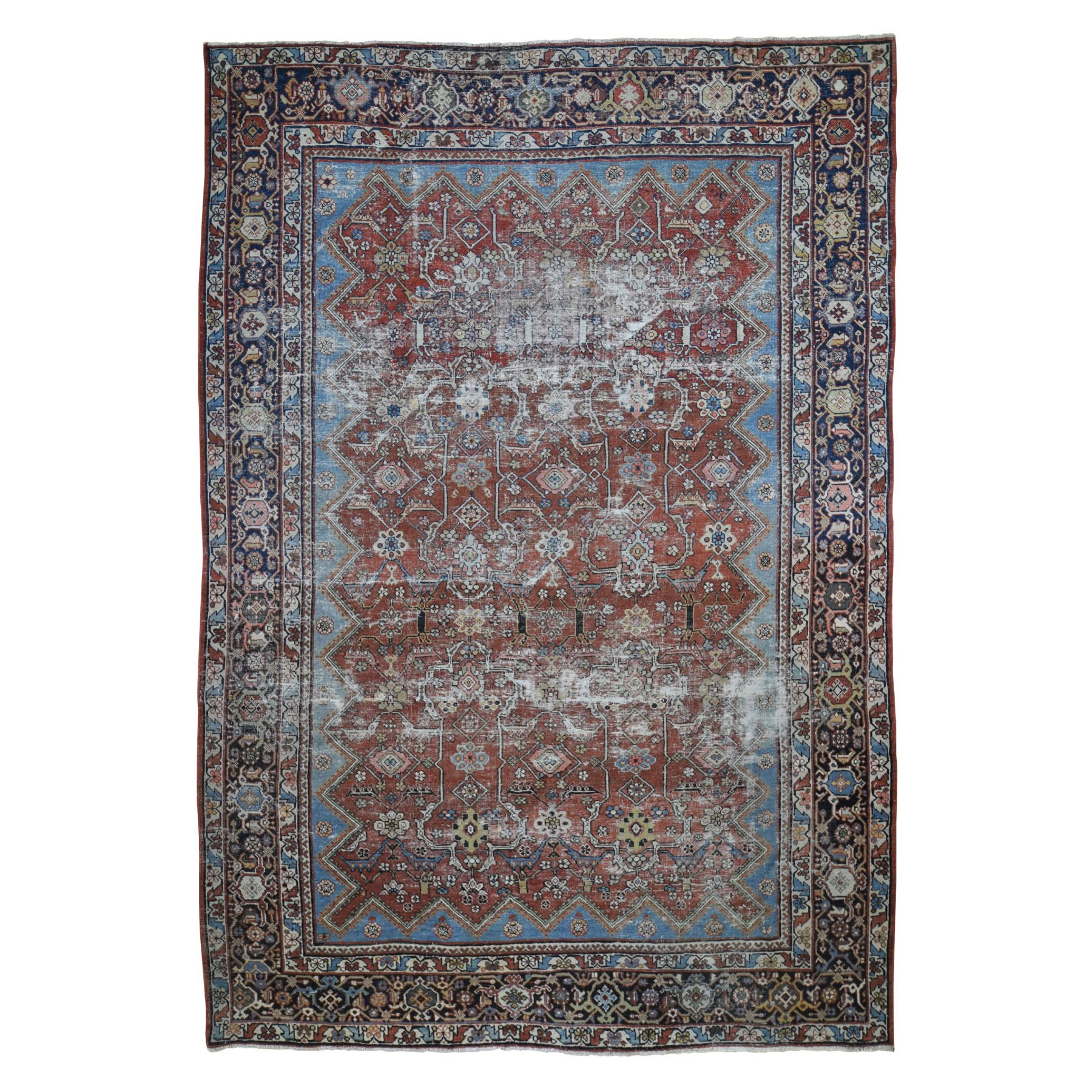 "9'x12'9"" Red Antique Worn Persian Mahal Clean Hand Woven Oriental Rug"