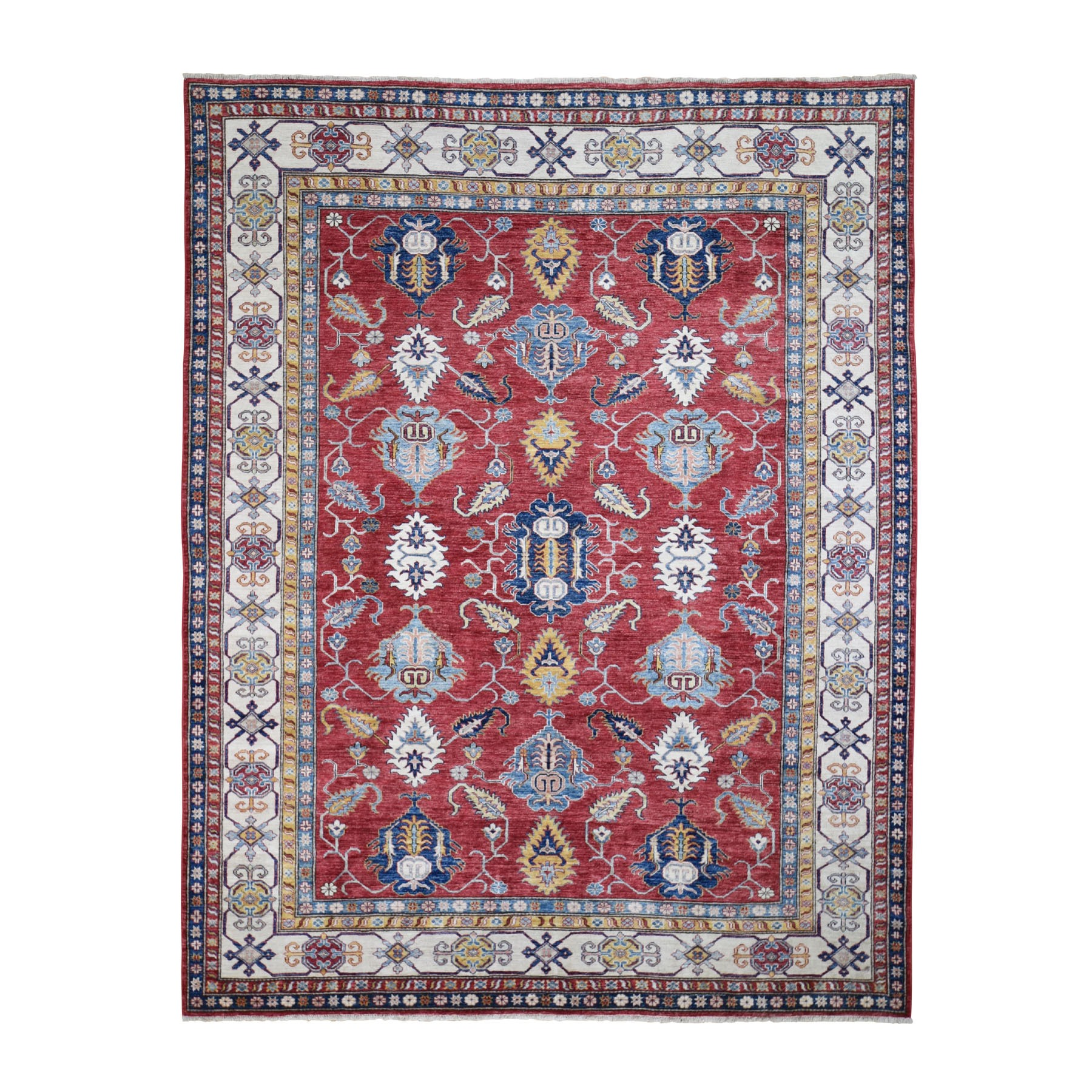 8'x10' Red Super Kazak Tribal Design Hand Woven Pure Wool Oriental Rug