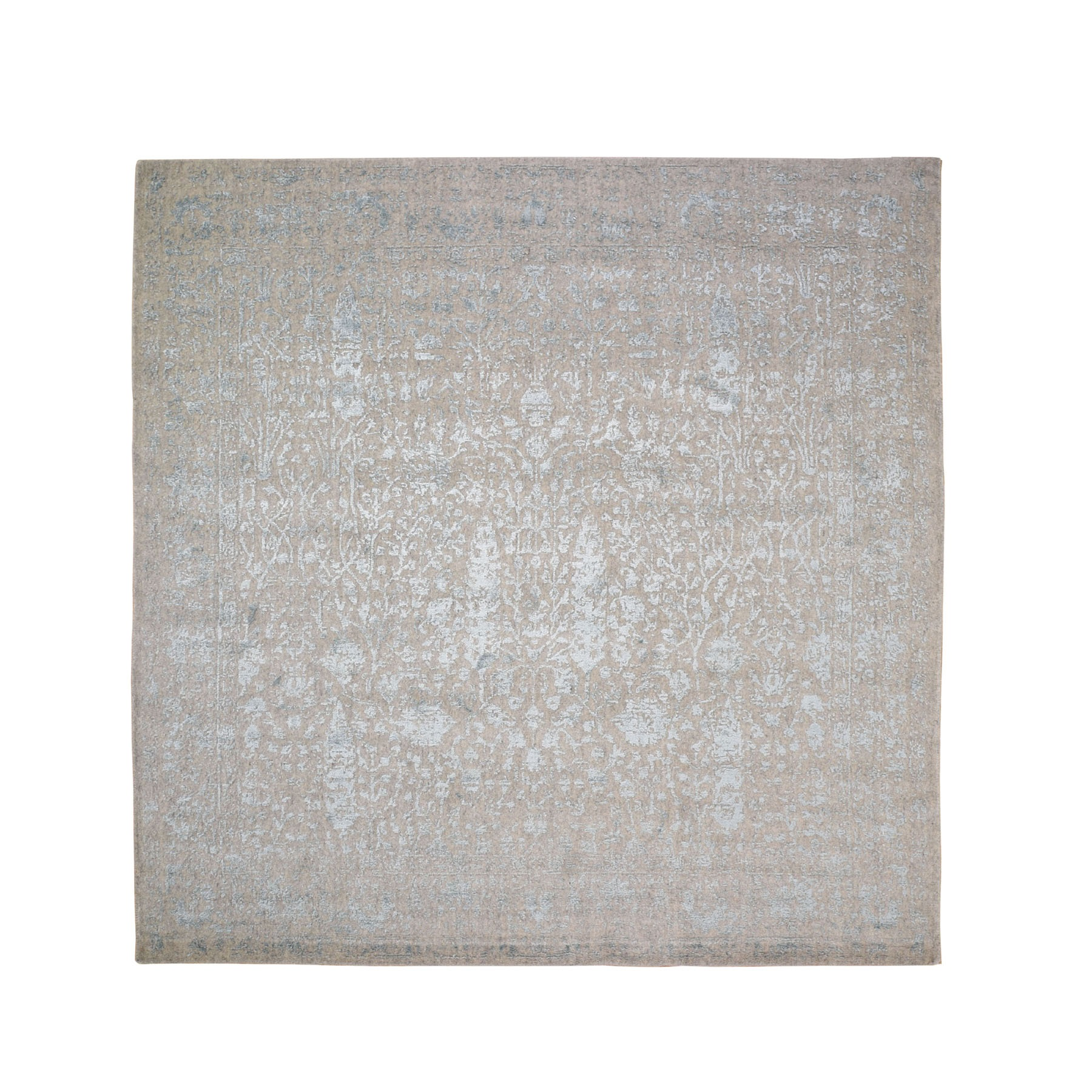 8'x8'  Square Gray Broken Cypress Tree Design Wool And Silk Thick Hand Loomed Oriental Rug