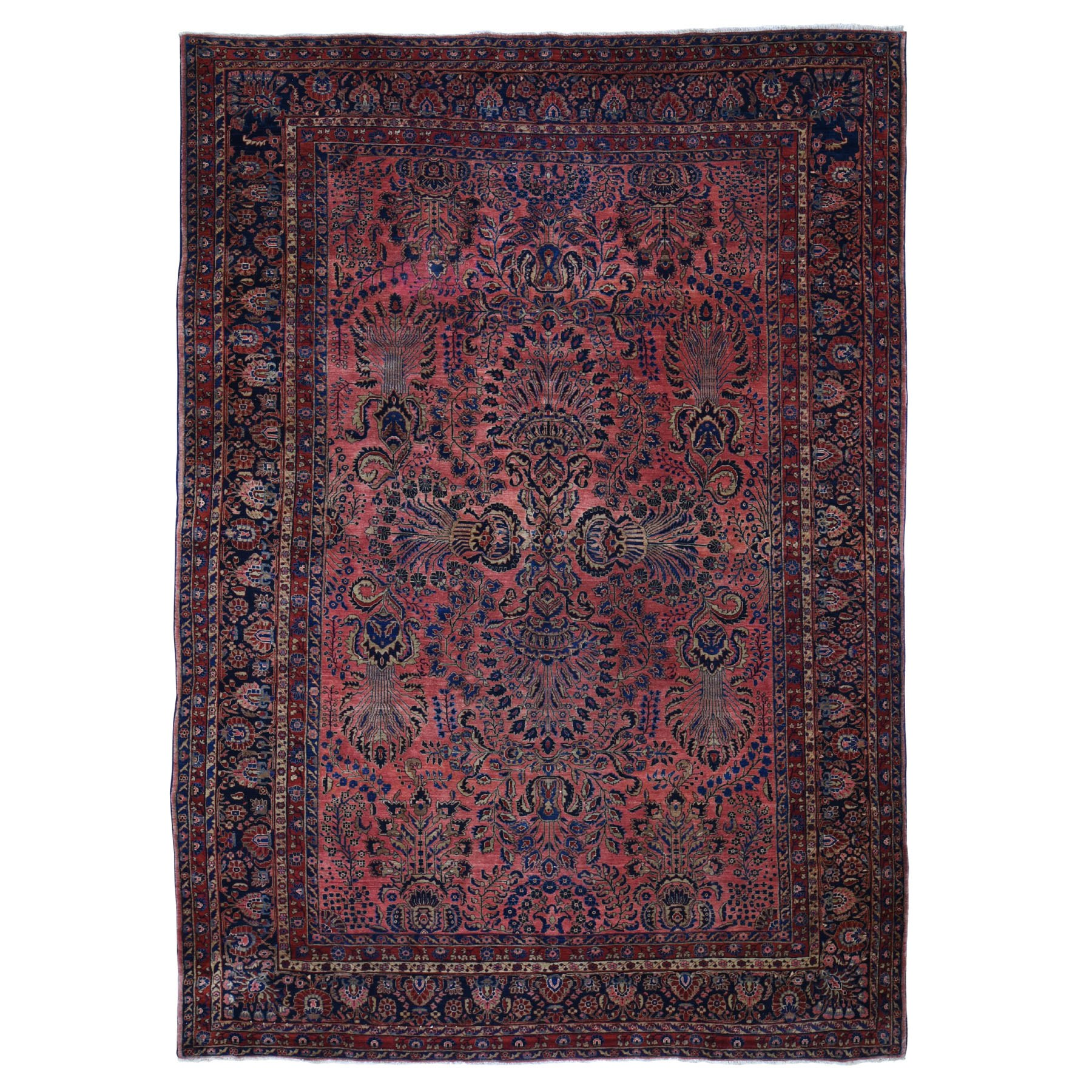 "8'10""x13'5"" Antique Persian Mohojaren Sarouk Soft And Clean Hand Woven Oriental Rug"