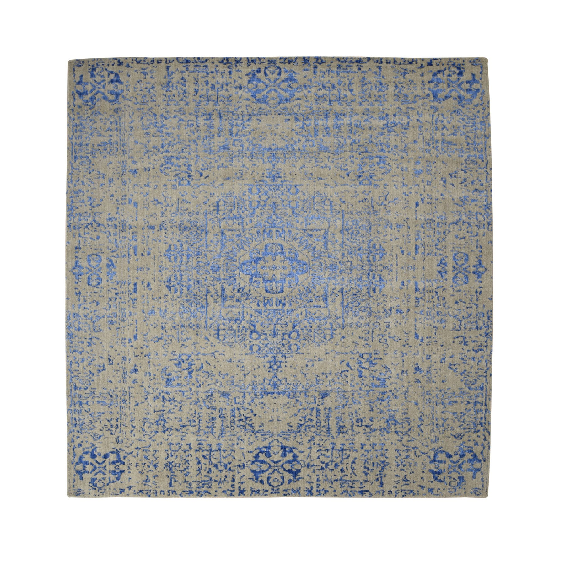 8'x8' Gray Hand Loomed Wool And Art Silk Mamluk Design Square Oriental Rug