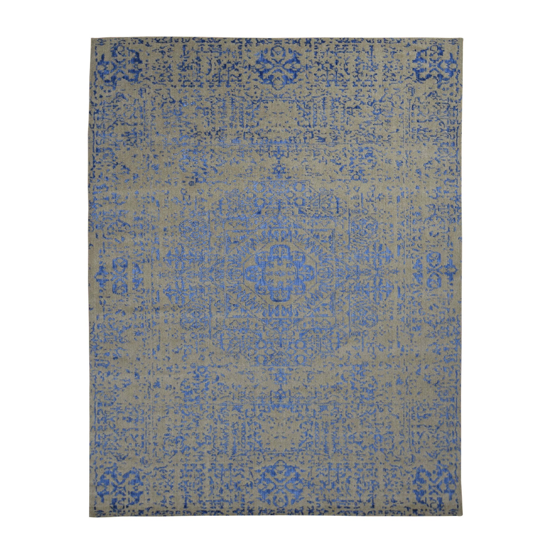 "7'10""x10'2"" Gray Hand Loomed Wool And Art Silk Mamluk Design ental RuOrig"