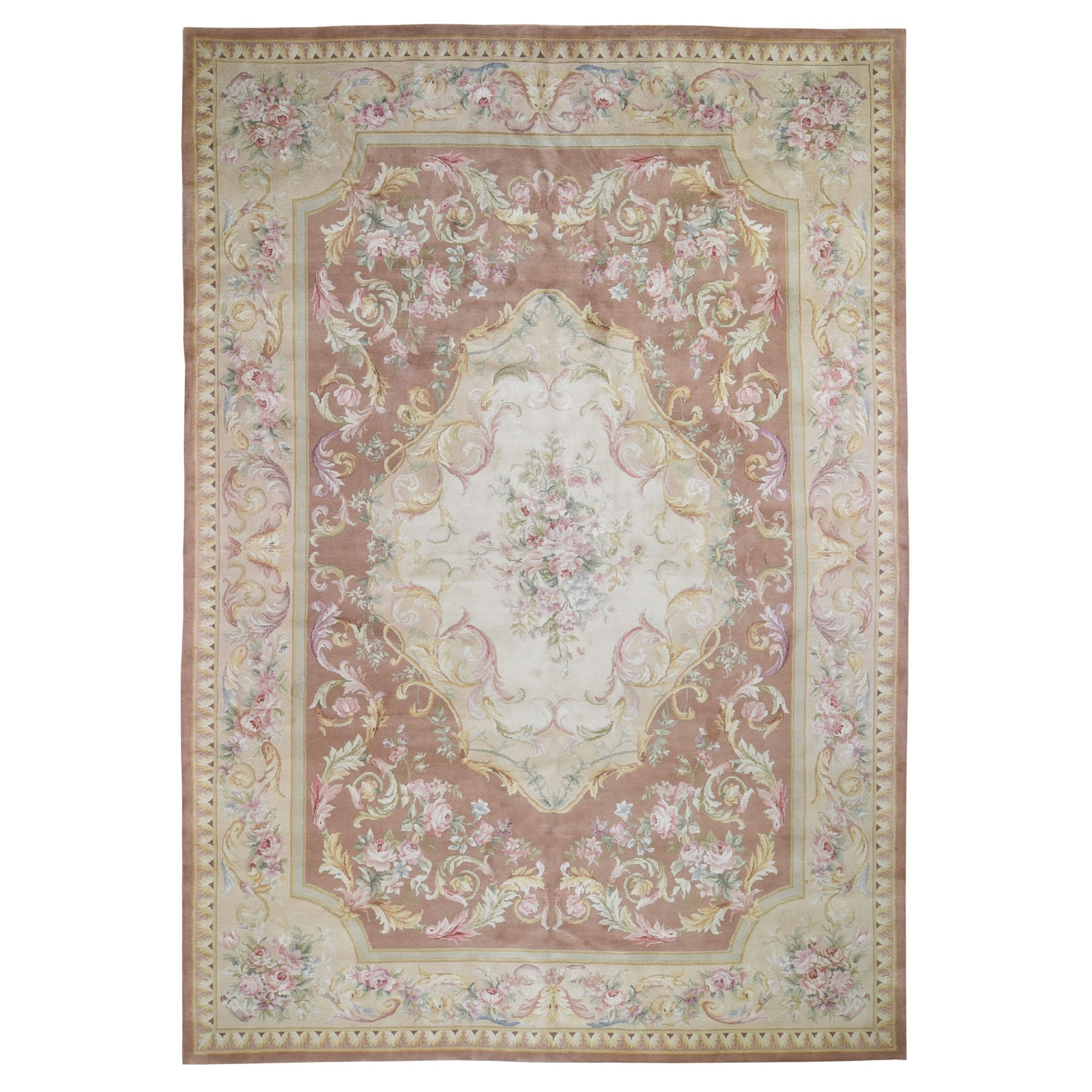 "9'9""x13'9"" Thick And Plush Savonnerie Neo Classic Design Pure Wool Hand Woven Oriental Rug"