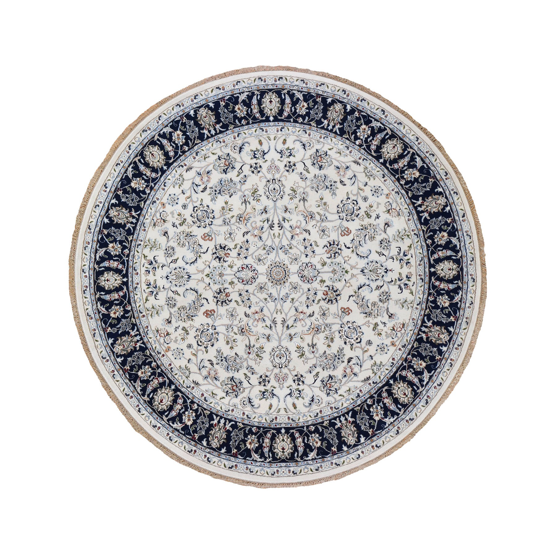 "7'1""x7'1"" Ivory Nain Wool And Silk 250 KPSI All Over Design Hand Woven Round Oriental Rug"
