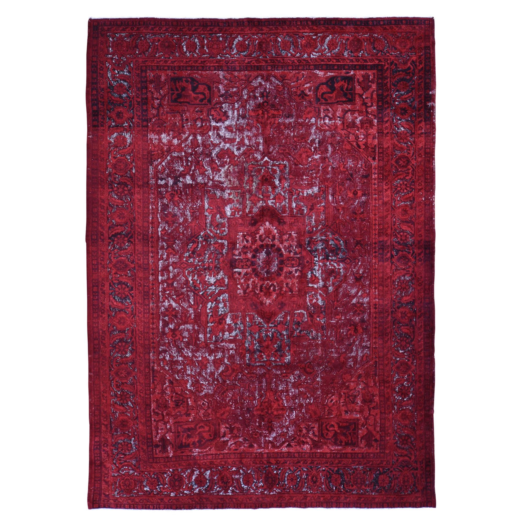 "8'x11'8"" Red Overdyed Turkish Heriz Hi-Lo Wool Hand Woven Oriental Rug"