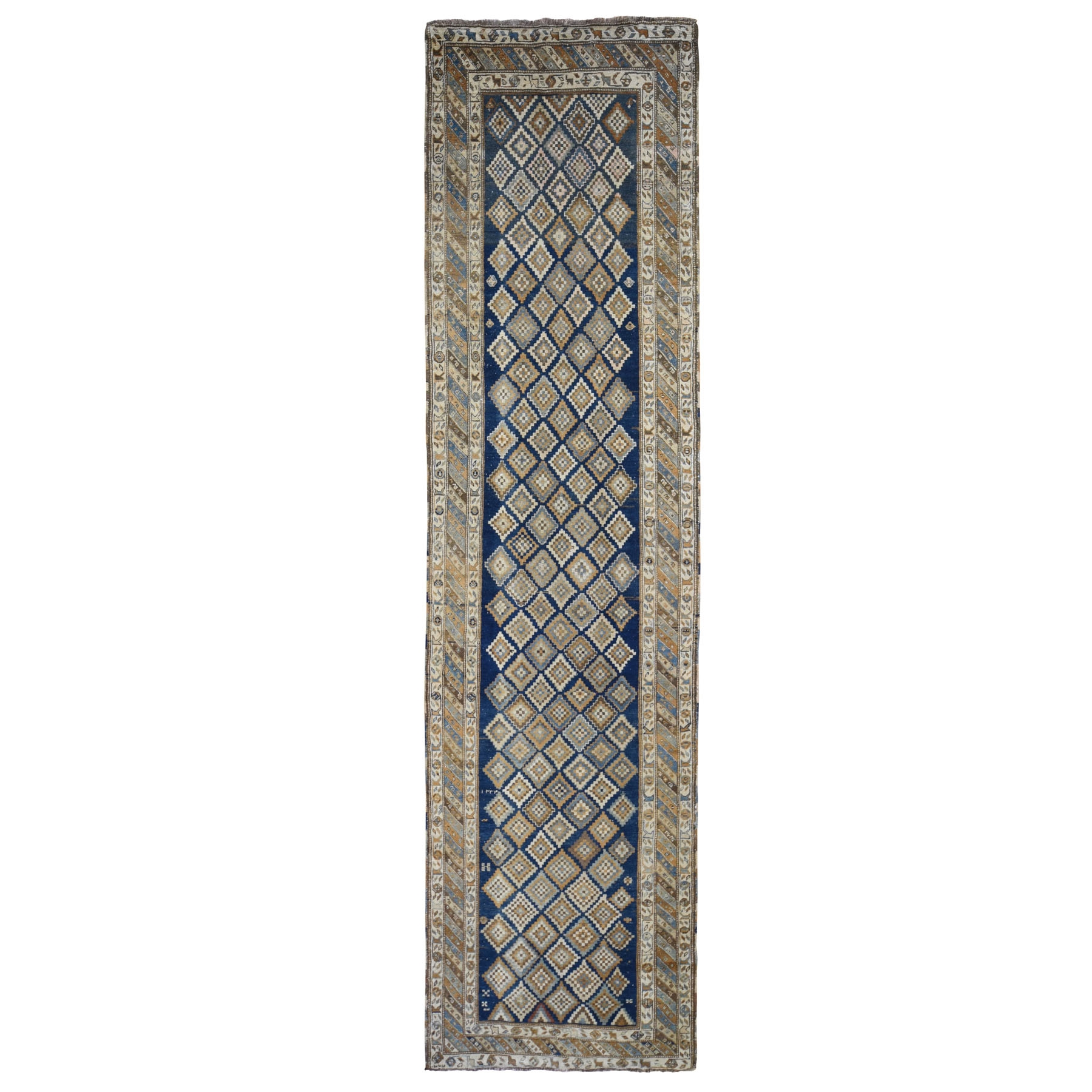 "3'4""x13'2"" Blue Antique Caucasian Wide Runner All Over Square Design Hand Woven Fine Oriental Rug"