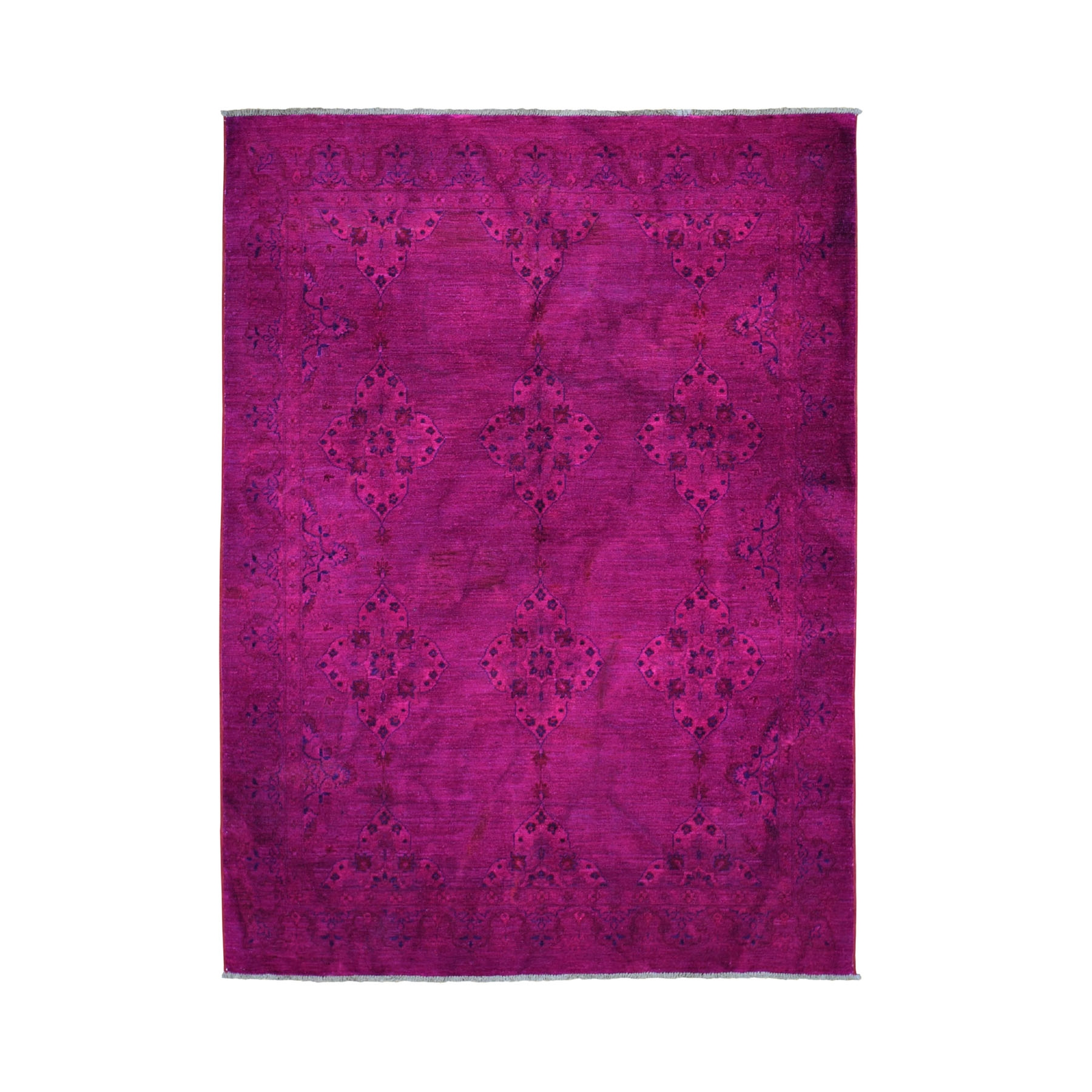 "5'5""x7'2"" Fuchsia Pink Overdyed Persian Tabriz Pure Wool Hand Woven Oriental Rug"