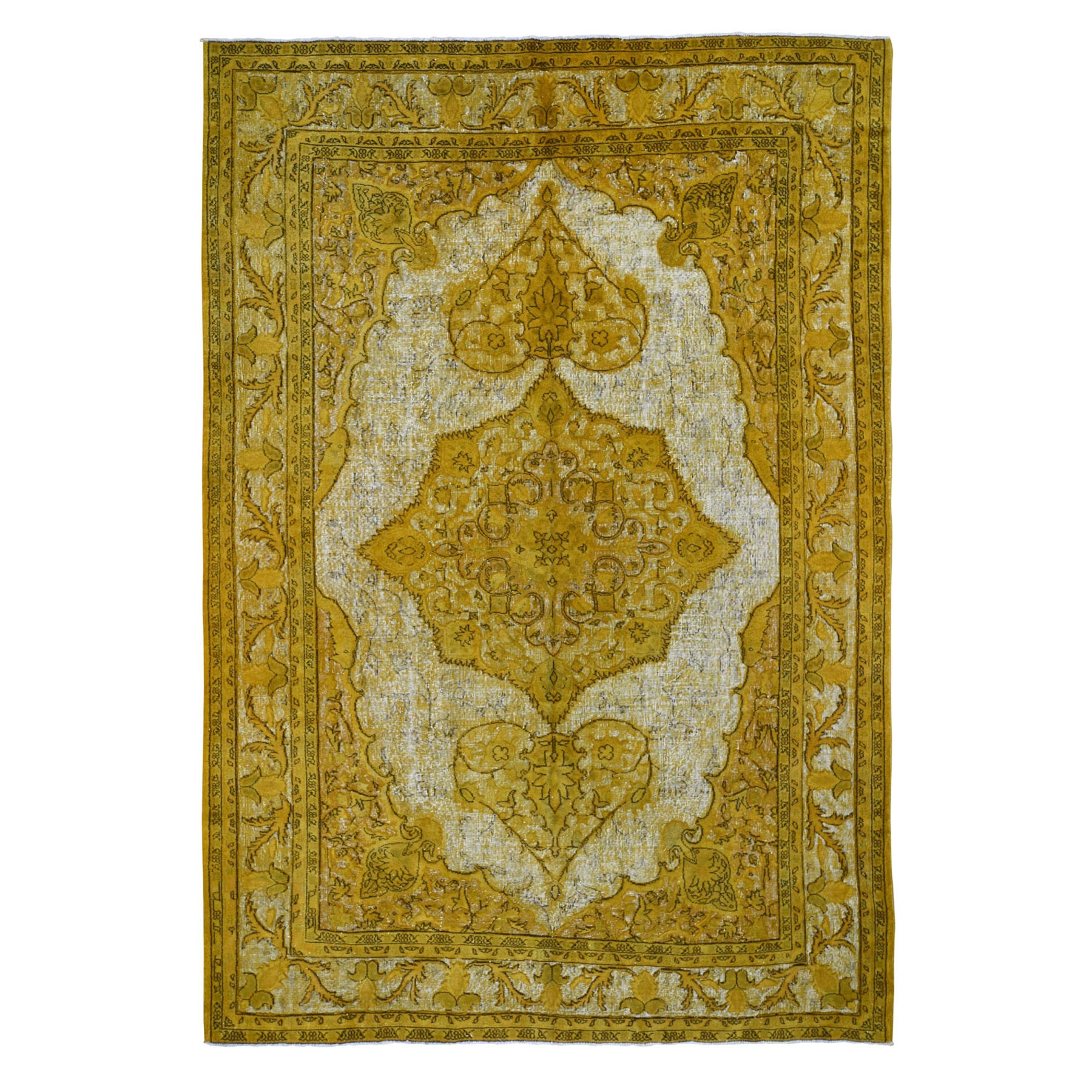 "8'6""x12'3"" Yellow Overdyed Turkish Shivas Hi-Lo Pile Pure Wool Hand Woven Oriental Rug"