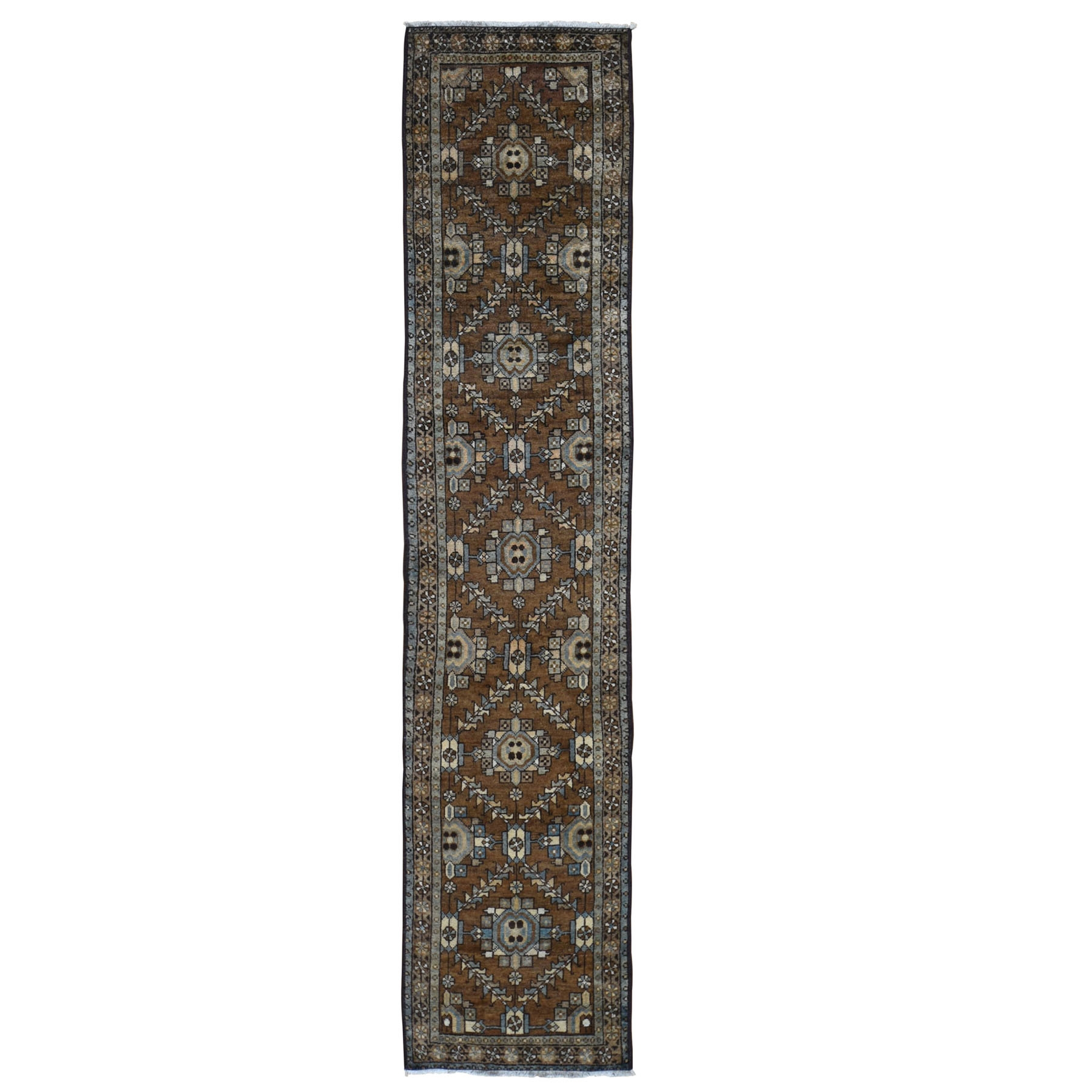 "2'x9'1"" Brown Antique Persian Heriz With Soft Natural Colors Narrow Runner Hand Woven Oriental Rug"