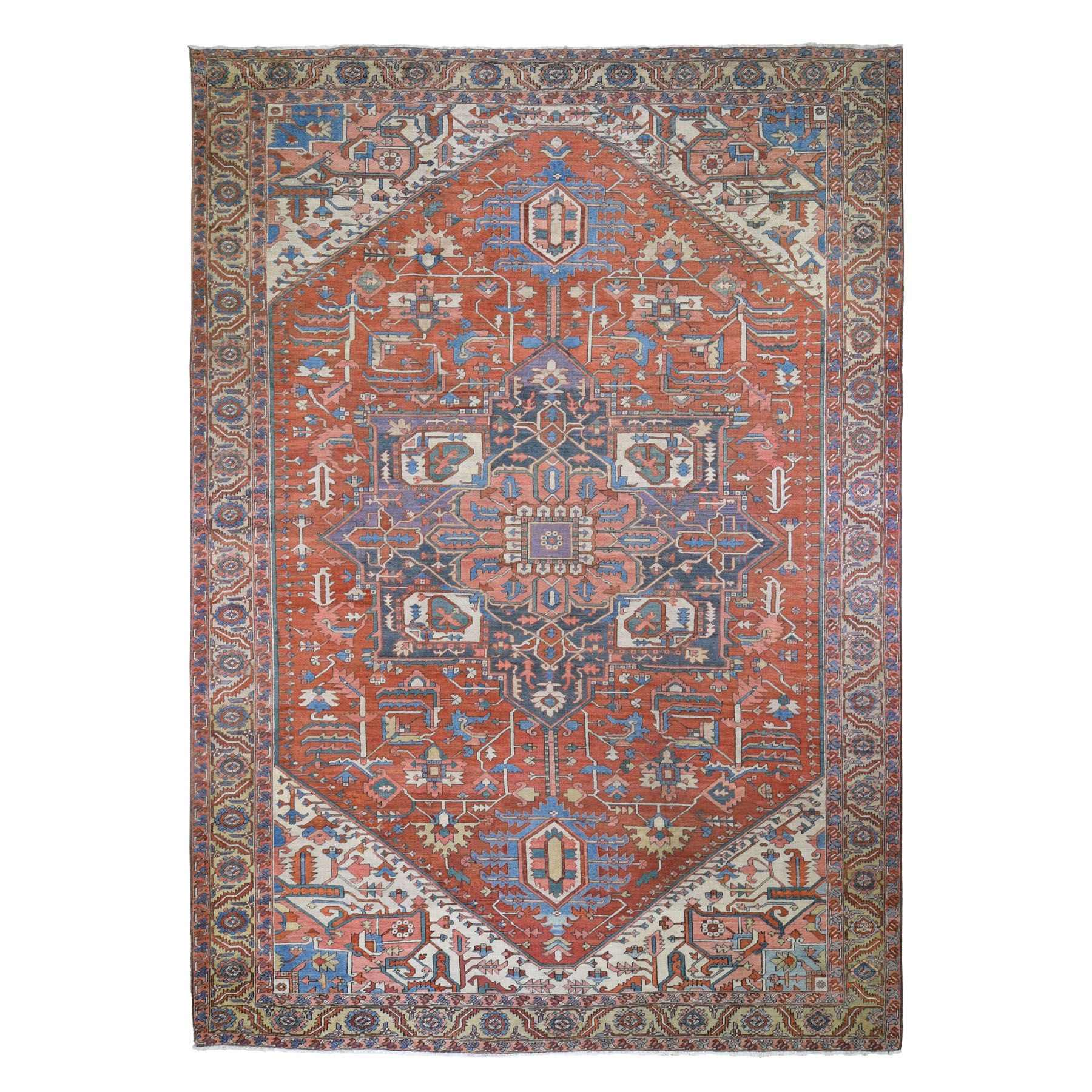 "11'1""x15'9"" Red Oversized Antique Persian Serapi Heriz Exc Cond Hand Woven Oriental Rug"
