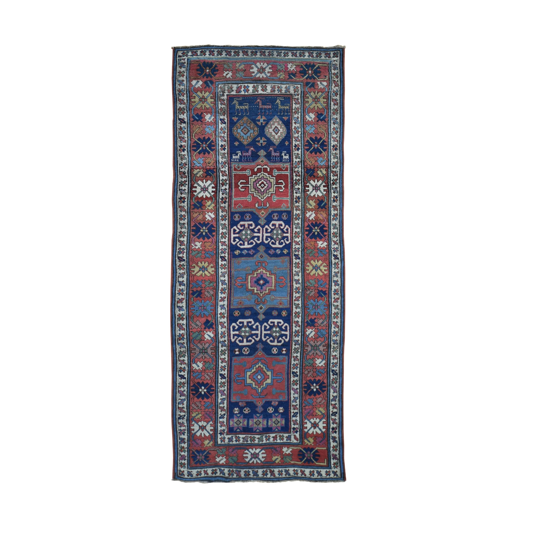 "3'6""x9' Antique Caucasian Kazak With Eggplant Color Exc Conition Wide Runner Hand Woven Oriental Rug"
