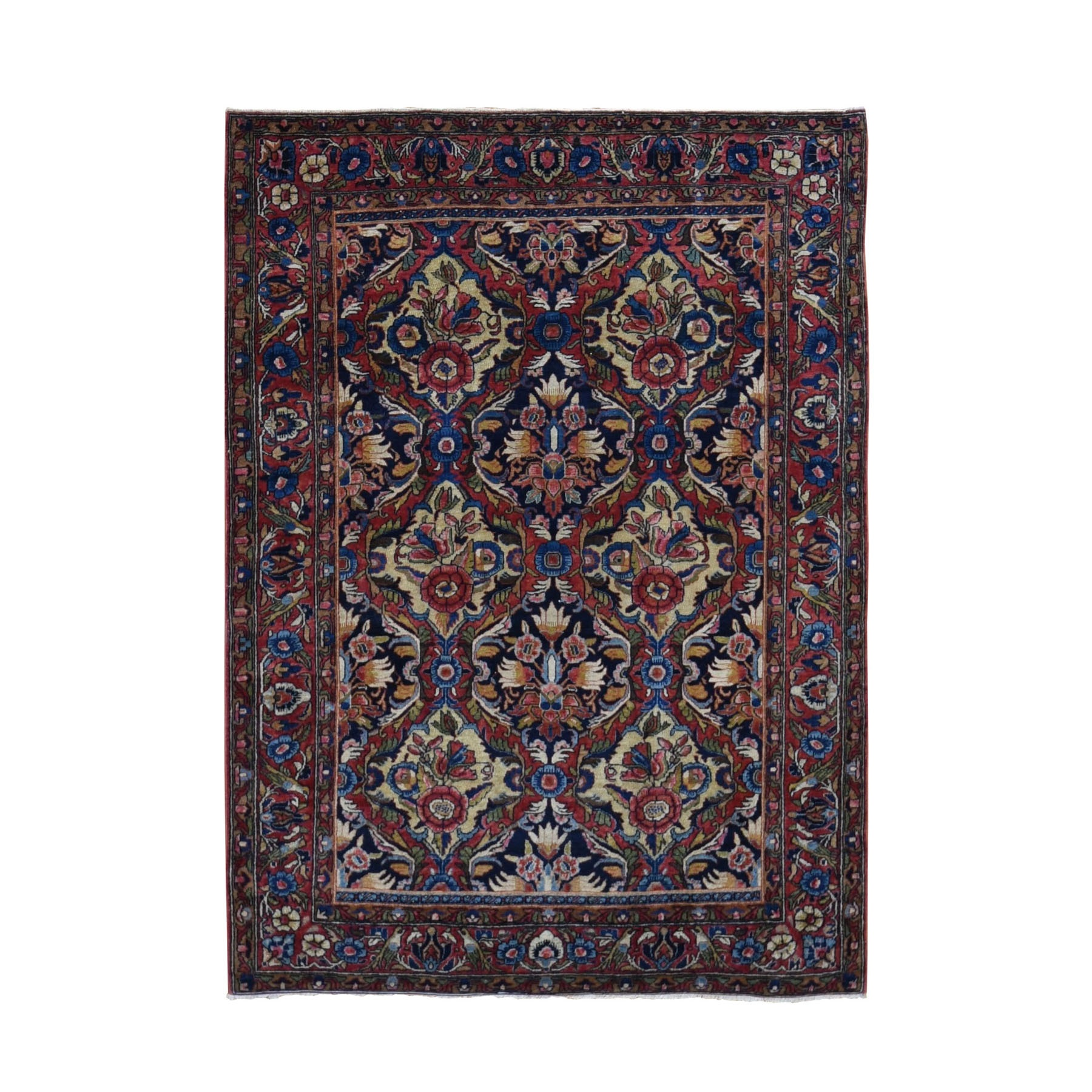"3'4""x4'10"" Red Antique Persian Sarouk Exc Condition Soft Full Pile Hand Woven Oriental Rug"