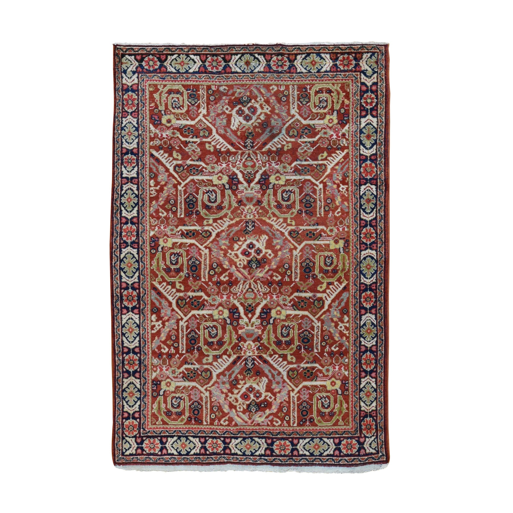 "4'1""x6'7"" Red Antique Persian Mahal Exc Condition Hand Woven Oriental Rug"