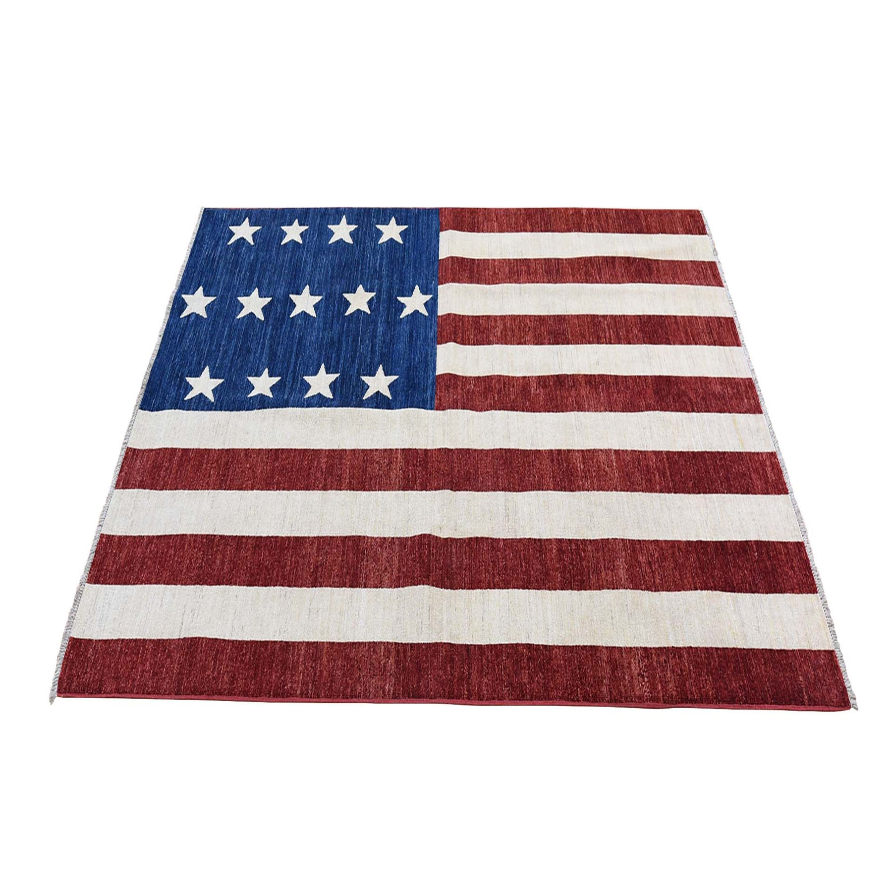 5'x7' Pure Wool Vintage Look American History Hand Woven Flag Design Wall Hanging Rug