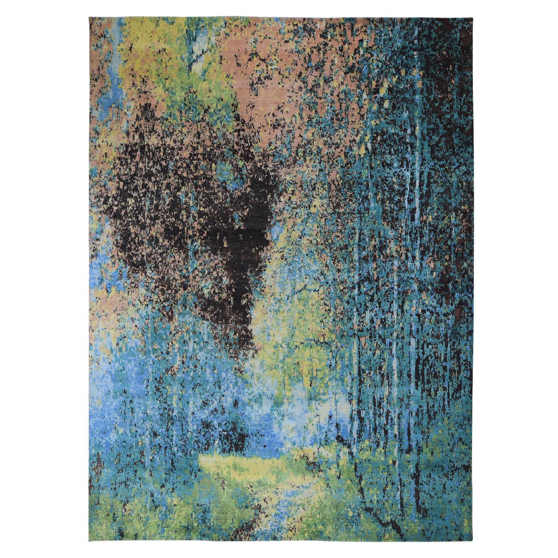 "8'10""x12' THE FOREST, Wool And Silk Abstract With Greens Hand Woven Oriental Rug"