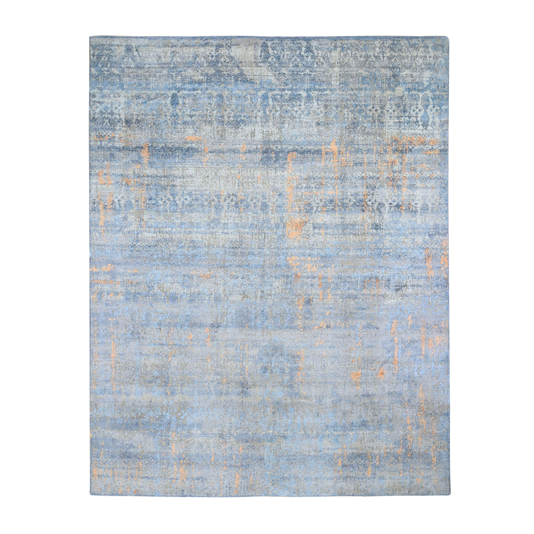 8'x10'  Light Blue Silk With Textured Wool Abstract Dripping Design Hand Woven Oriental Rug