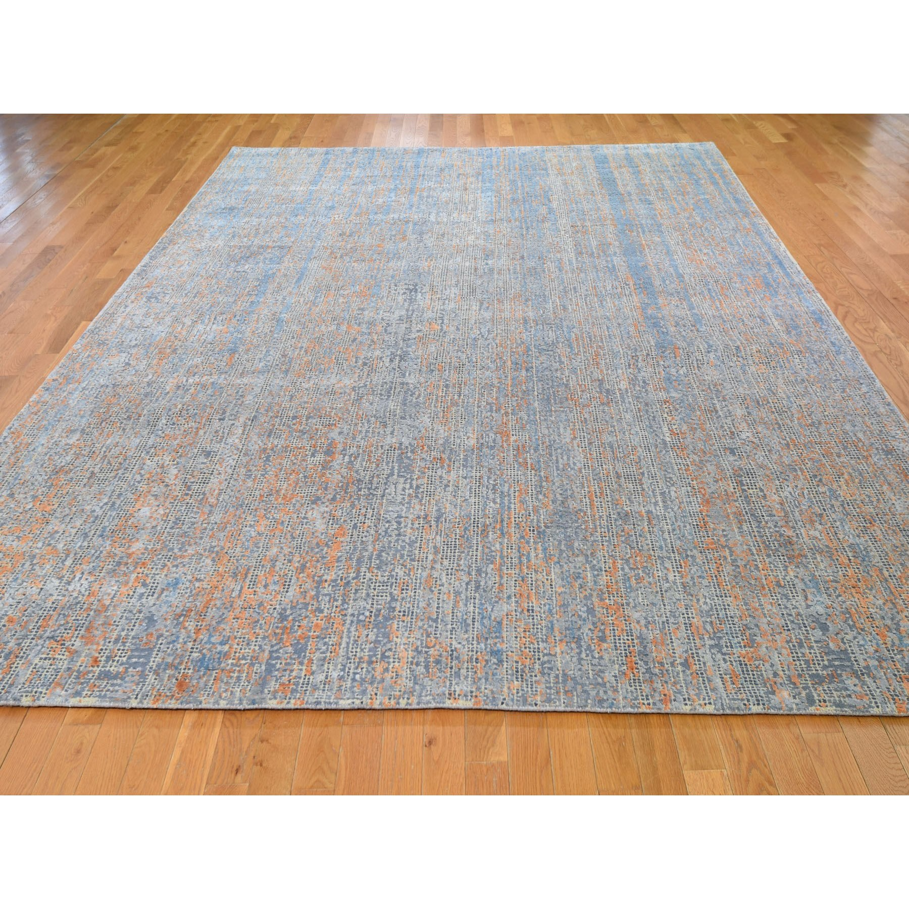 "8'10""x12'2"" Water Dripping Design Silk With Textured Wool Hand Woven Oriental Rug"