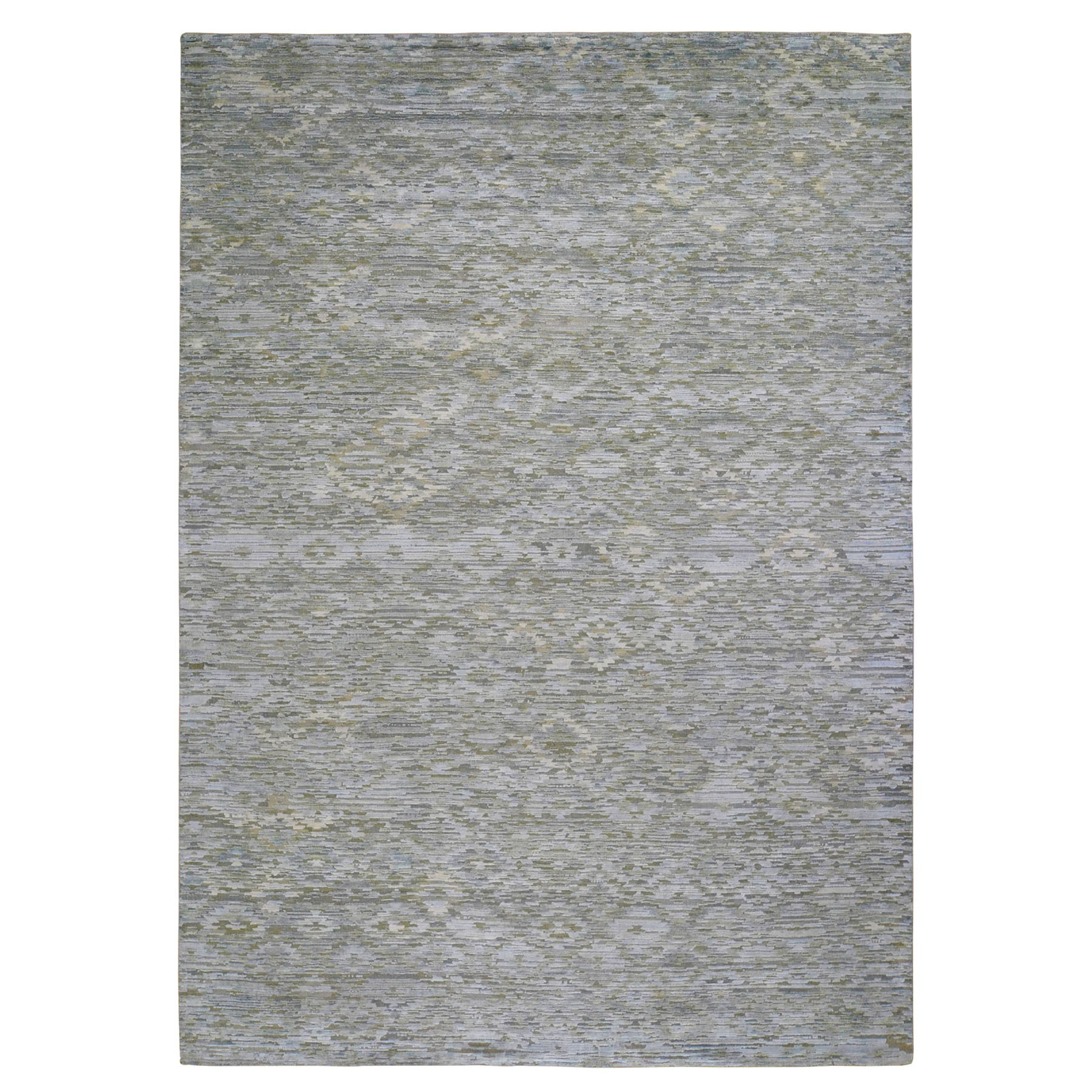 "9'x11'9"" Pure Silk Pastel Collection Hand Woven Modern Oriental Rug"