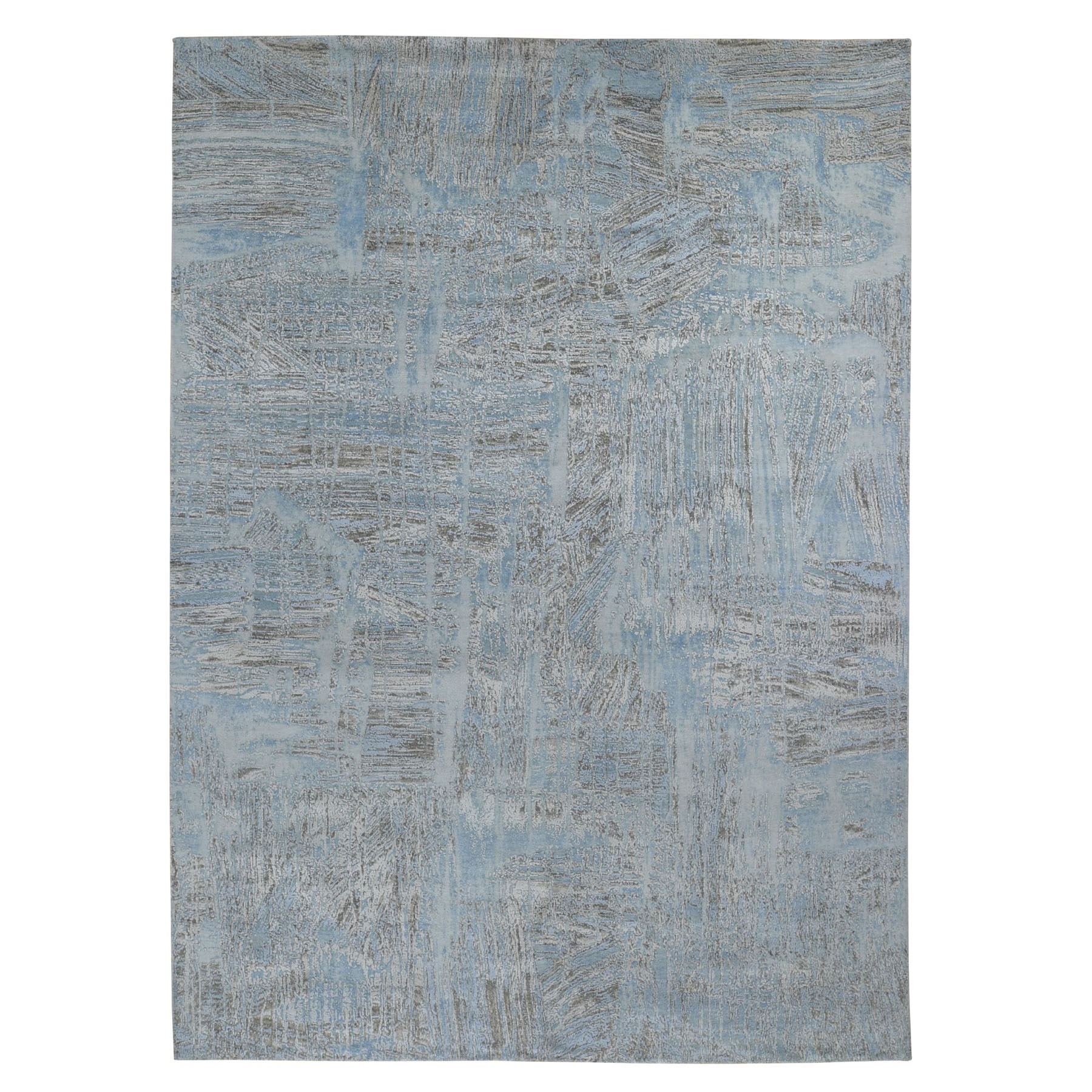 "8'9""x12' THE DRIPPING PAINT BRUSH, Silk With Textured Wool Hand Woven Oriental Rug"