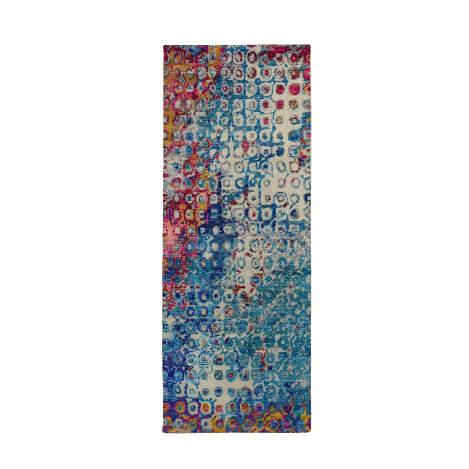 "3'x8'2"" THE PEACOCK, Sari Silk Colorful Hand Woven Runner Oriental Rug"