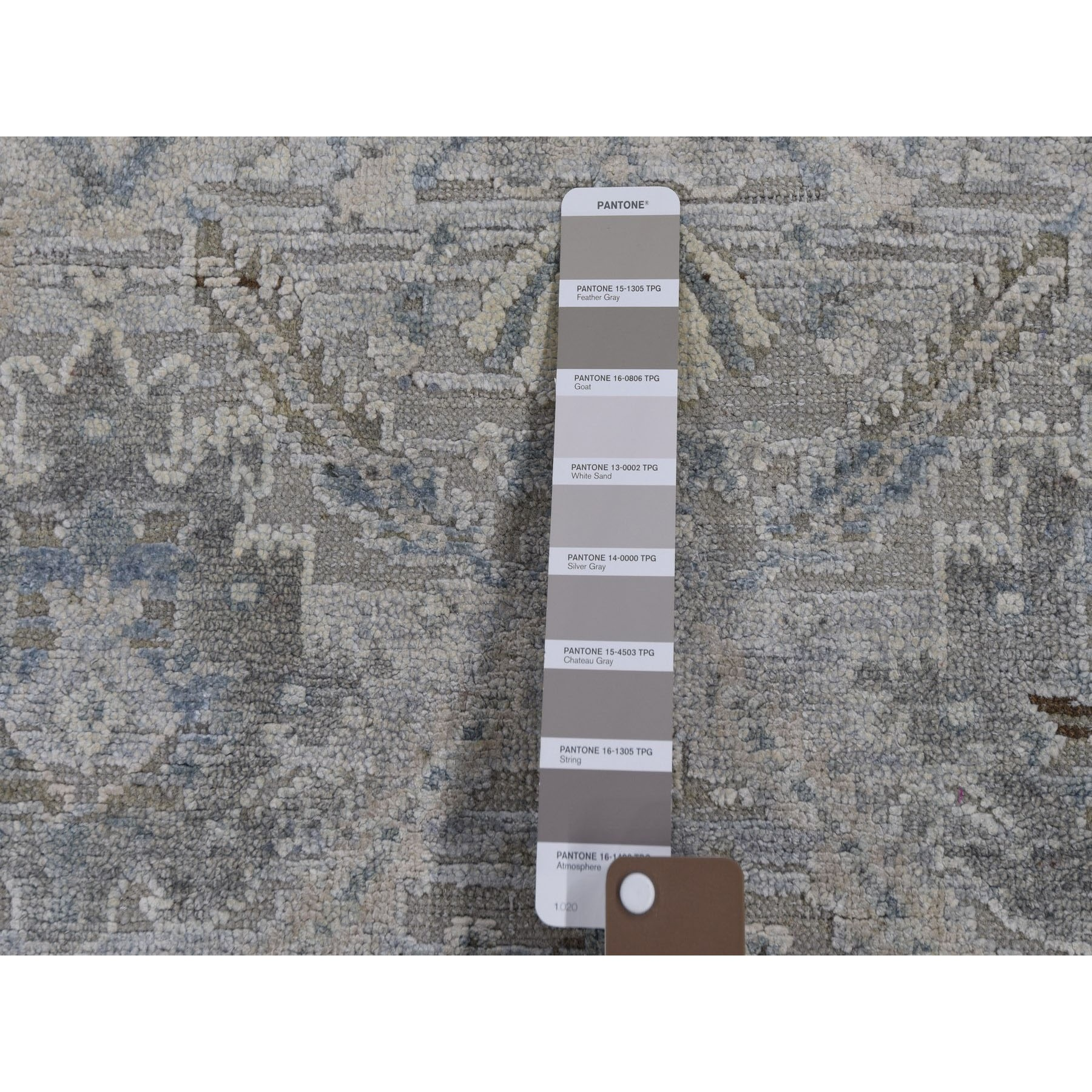 "3'x5'3"" Gray Pure Silk With Textured Wool Distressed Hand Woven Oriental Rug"