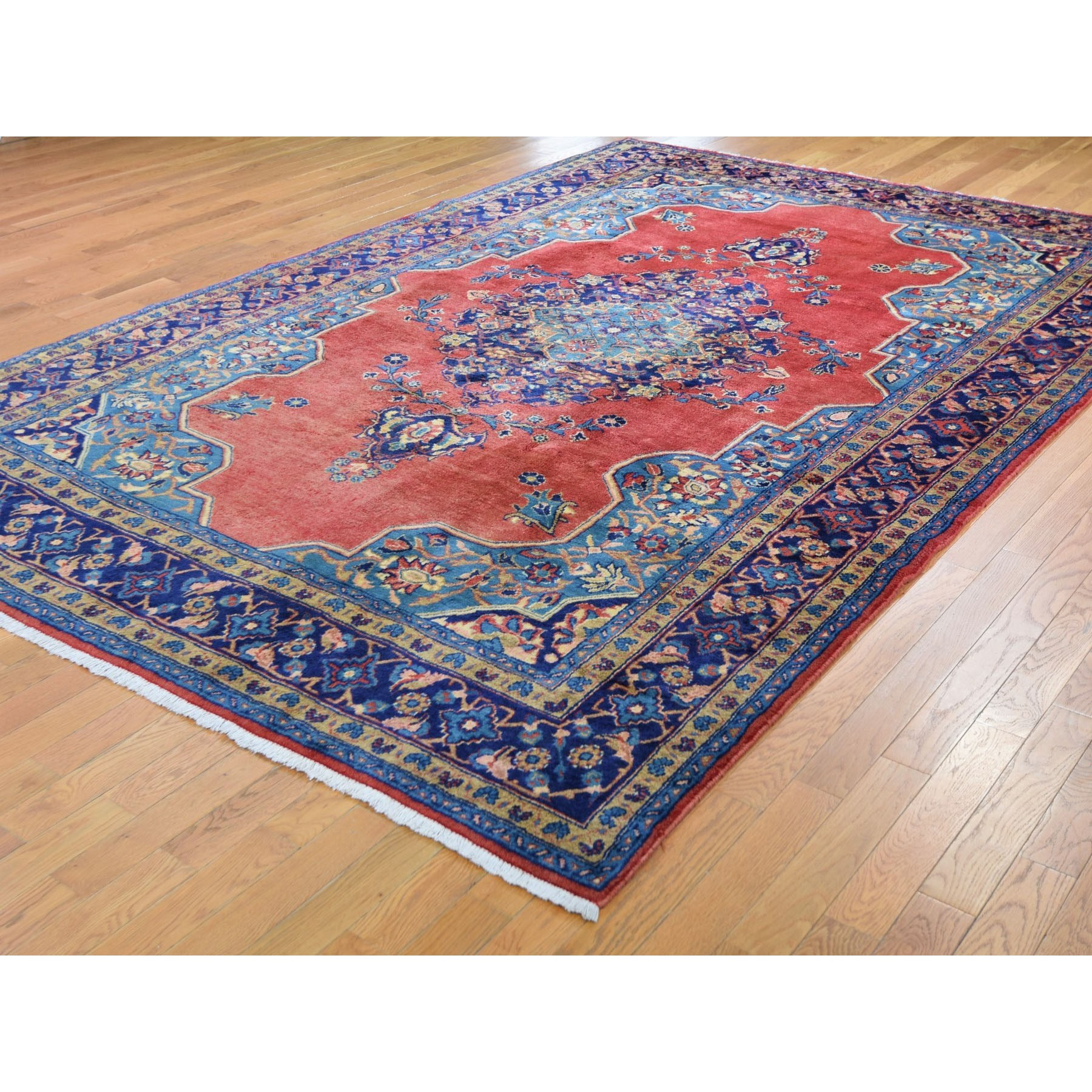 "7'9""x12' Red Vintage Persian Viss Full Pile Clean And Soft Pure Wool Hand Woven Oriental Rug"