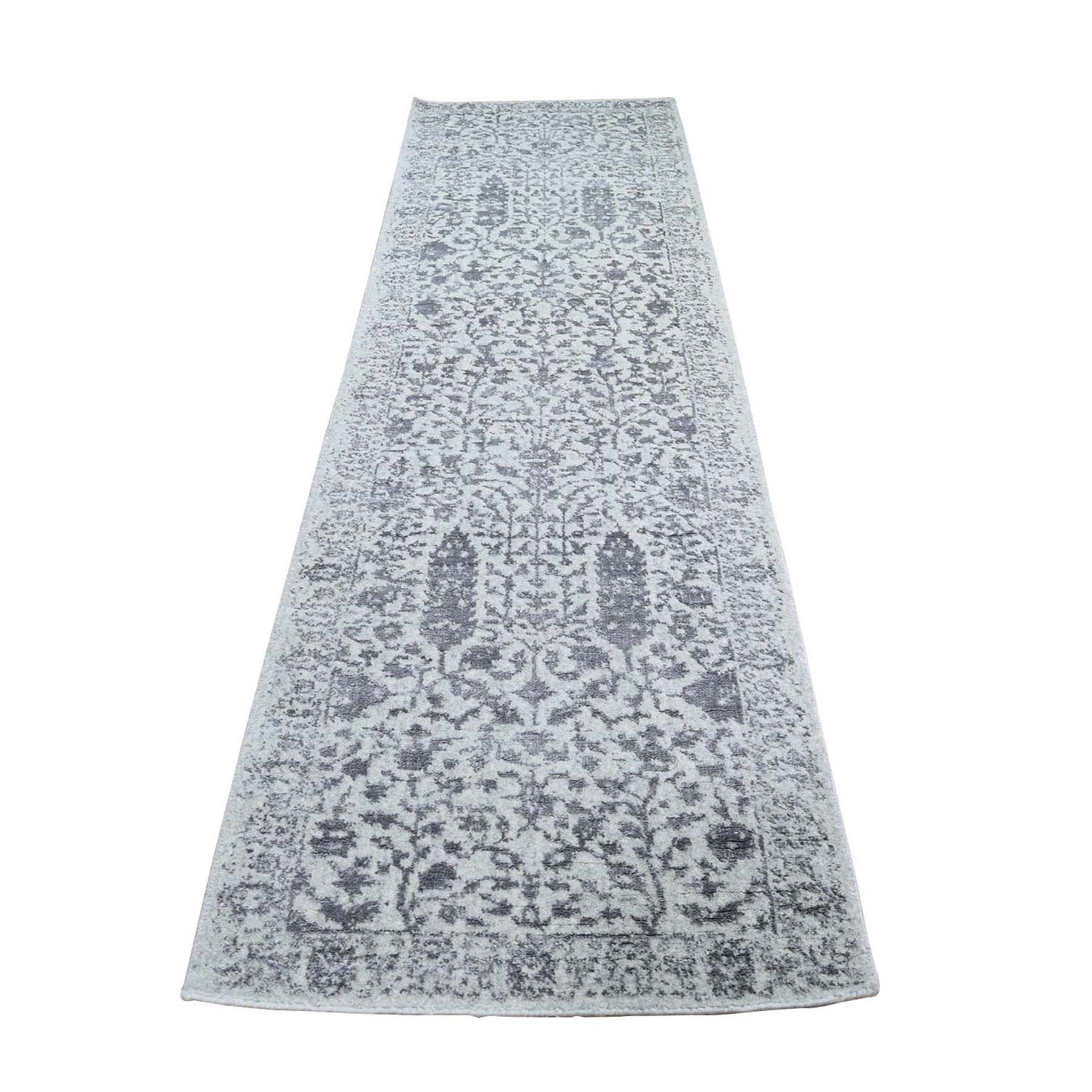 "2'5""x8'1"" Jacquard Hand-Loomed Gray Broken Cypress Tree Design Silken Thick And Plush Runner Oriental Rug"