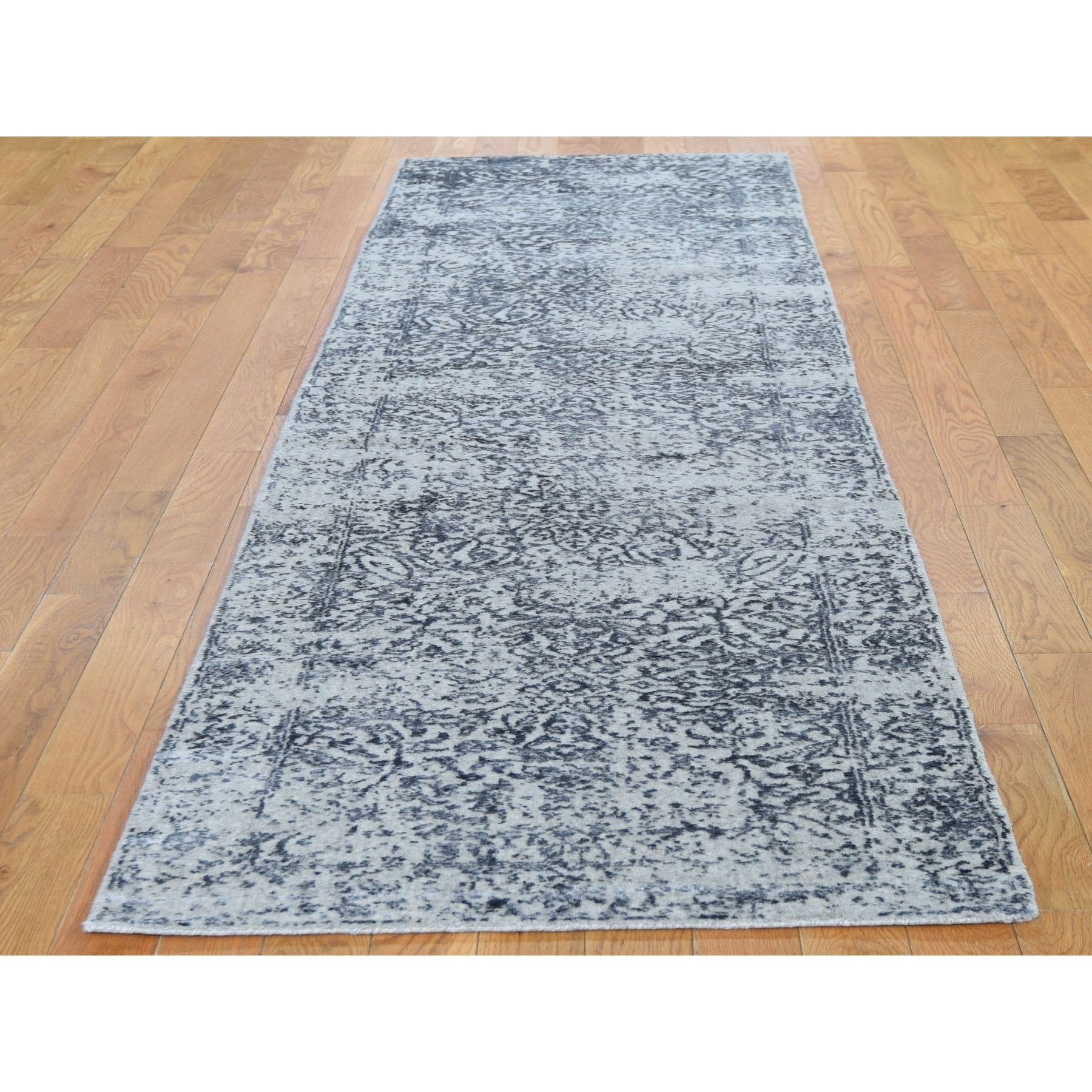 "2'5""x8'2""  Fine jacquard Hand Loomed Erased Design Wool And Silk Runner Oriental Rug"