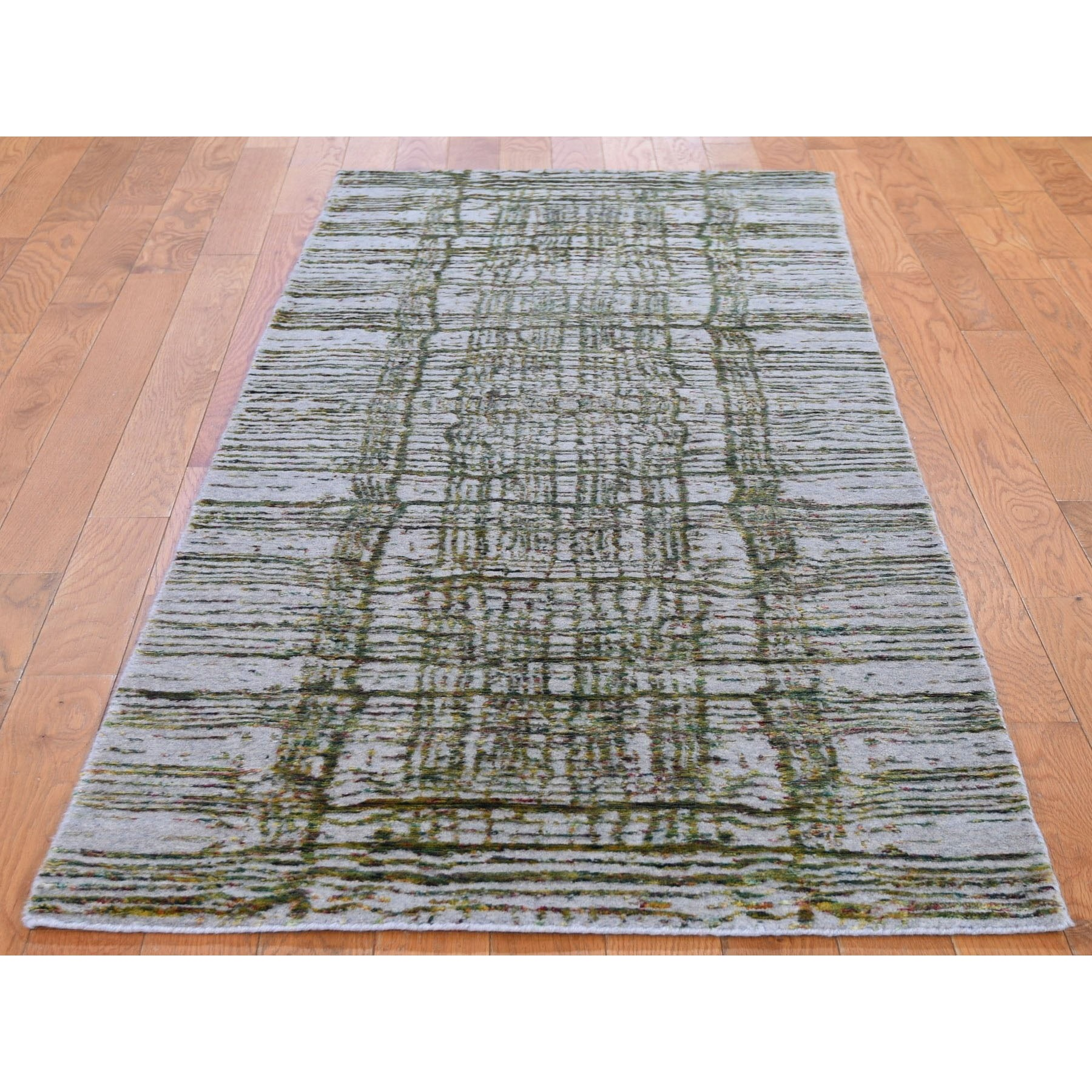 "2'6""x9'9""  Gray Fine Jacquard Hand Loomed Modern Wool And Silk Runner Oriental Rug"