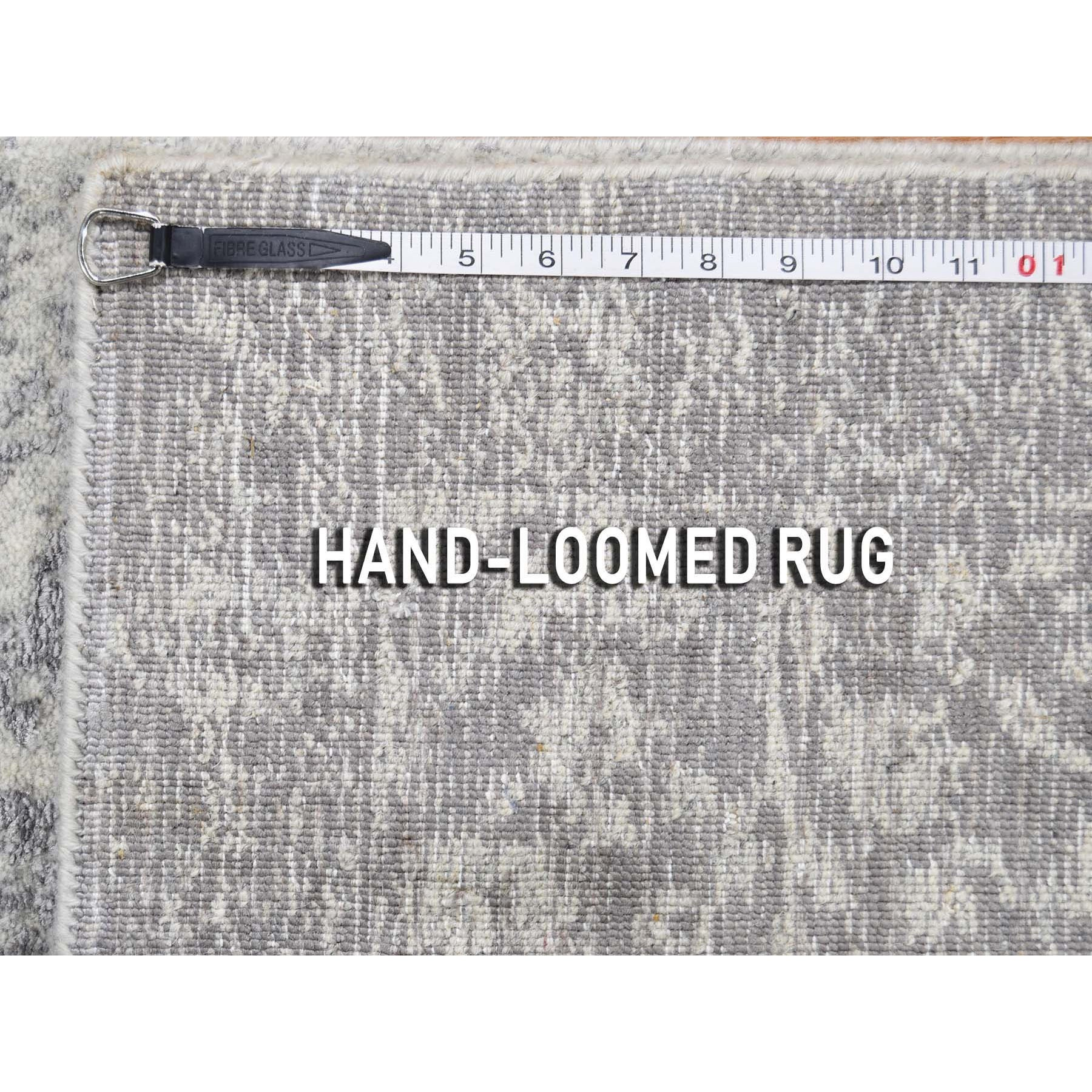 "2'5""x10'  Jacquard Hand-Loomed Gray Broken Cypress Tree Design Silken Thick And Plush Runner Oriental Rug"