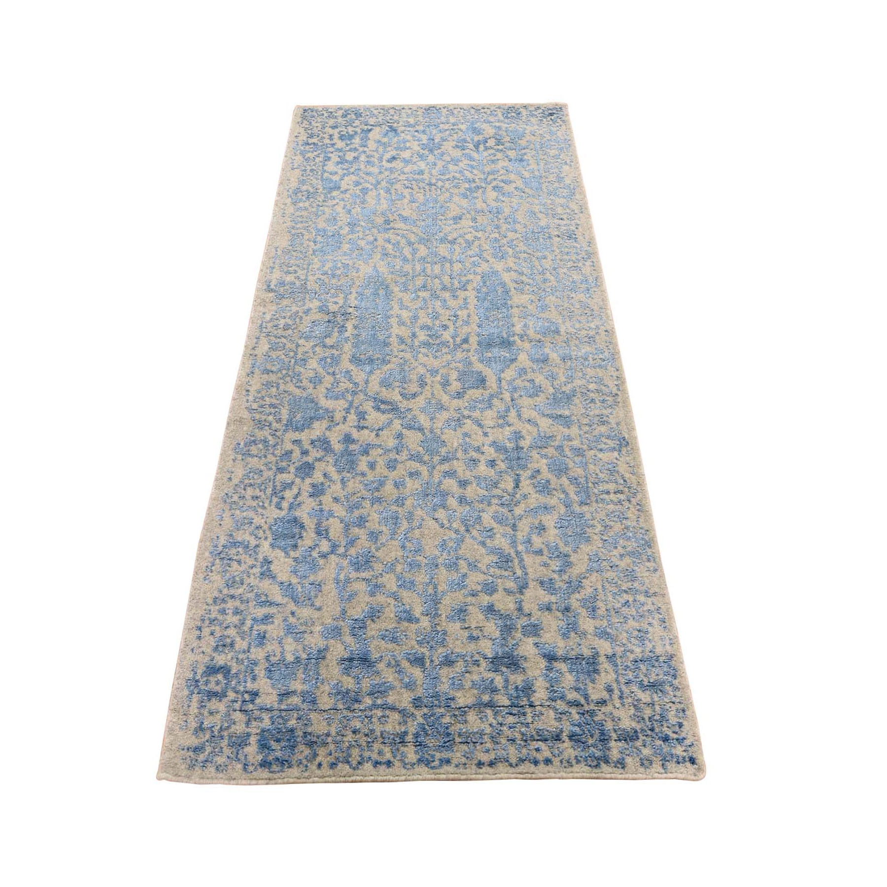 "2'5""x6'2"" Jacquard Hand Loomed Blue Broken Cypress Tree Design Silken Thick And Plush Runner Oriental Rug"
