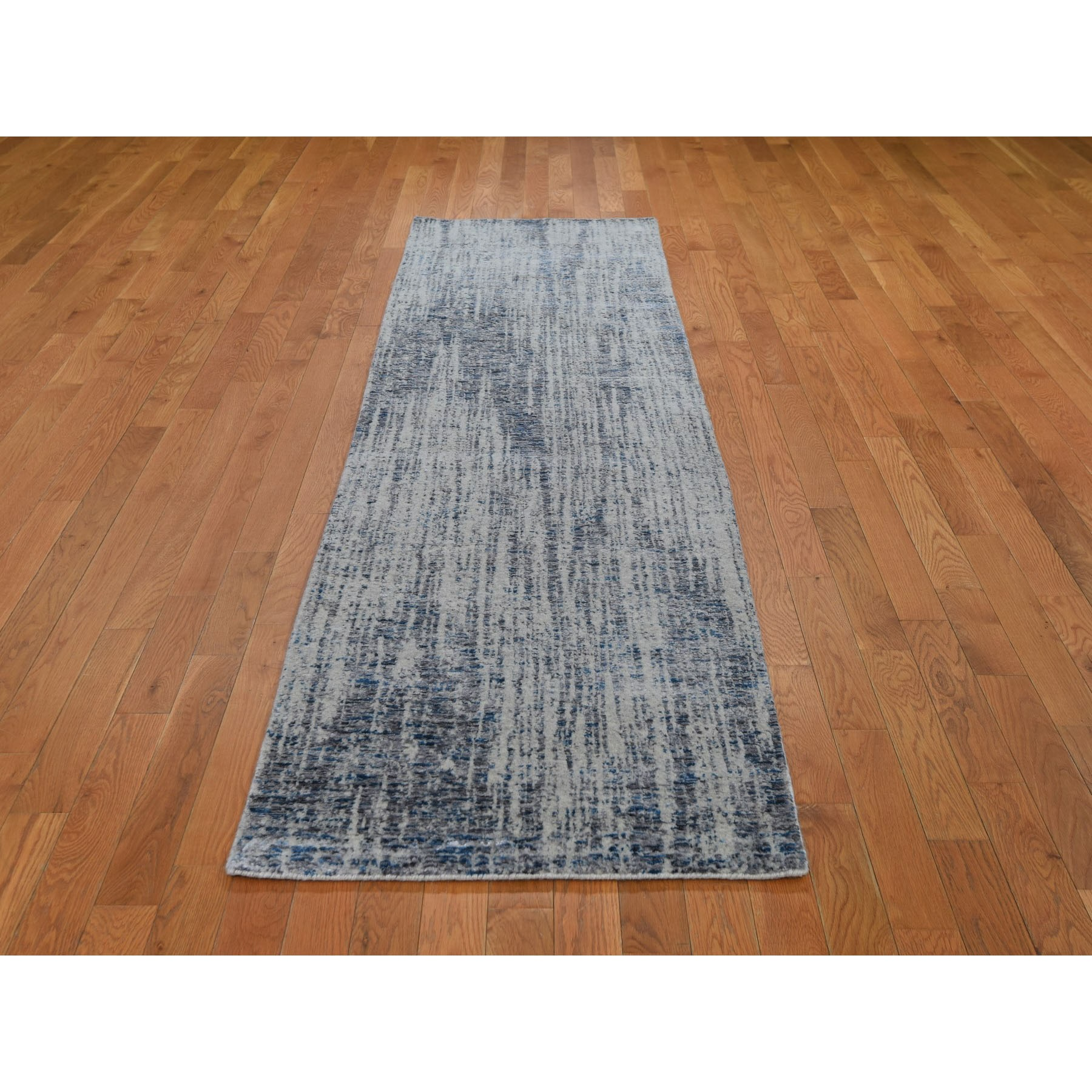 "2'6""x9'9"" Gray Fine jacquard Hand-Loomed Runner Modern Wool And Silk Oriental Rug"