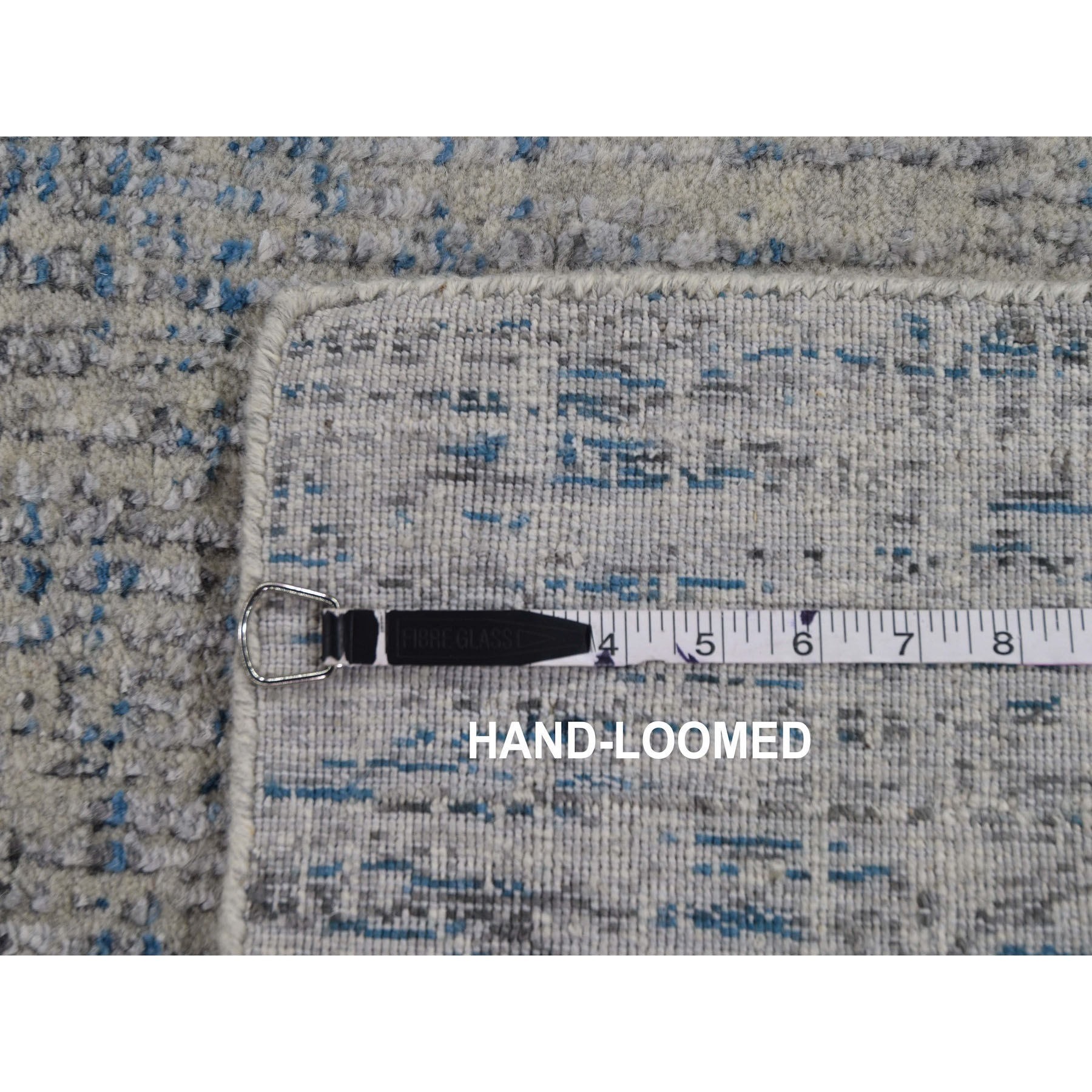 "2'6""x7'10"" Gray Fine jacquard Hand-Loomed Modern Runner Wool And Silk Oriental Rug"