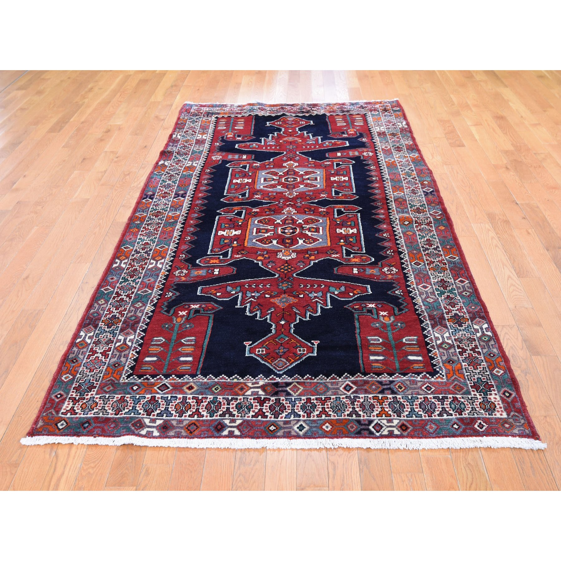 "4'8""x9'7"" Gallery Size Navy Blue New Persian Hamadan Pure Wool Hand Woven Oriental Rug"