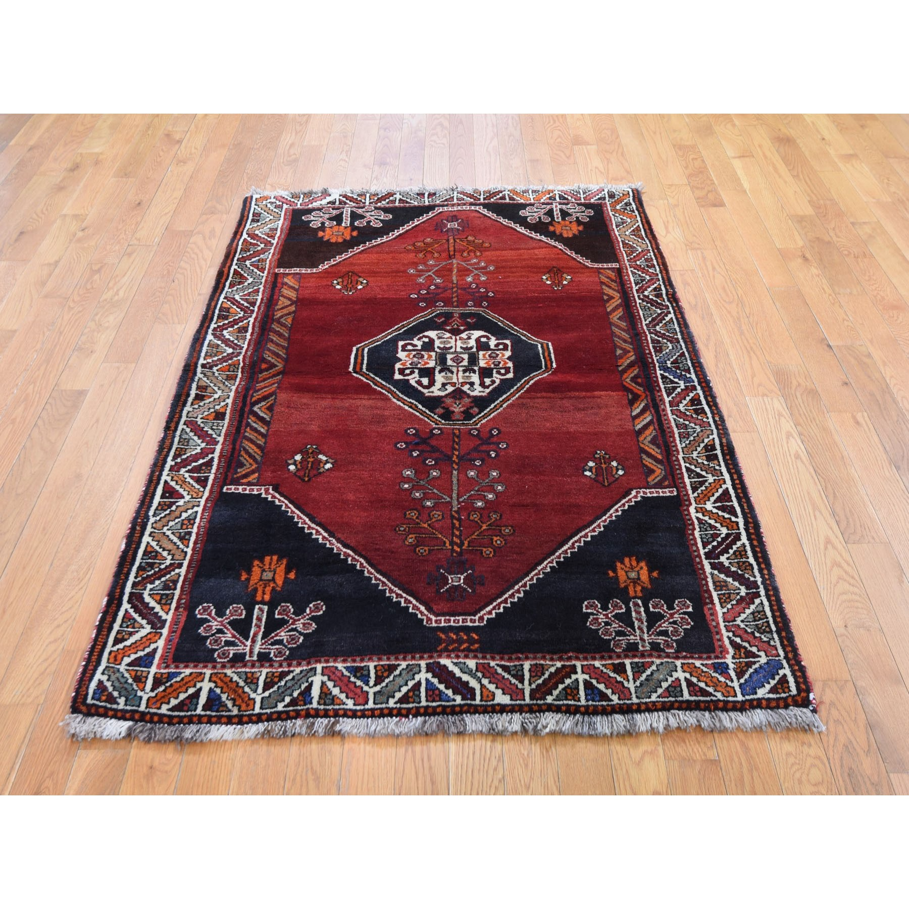 "4'x5'9"" Red New Persian Shiraz Abrush Pure Wool Hand Woven Oriental Rug"