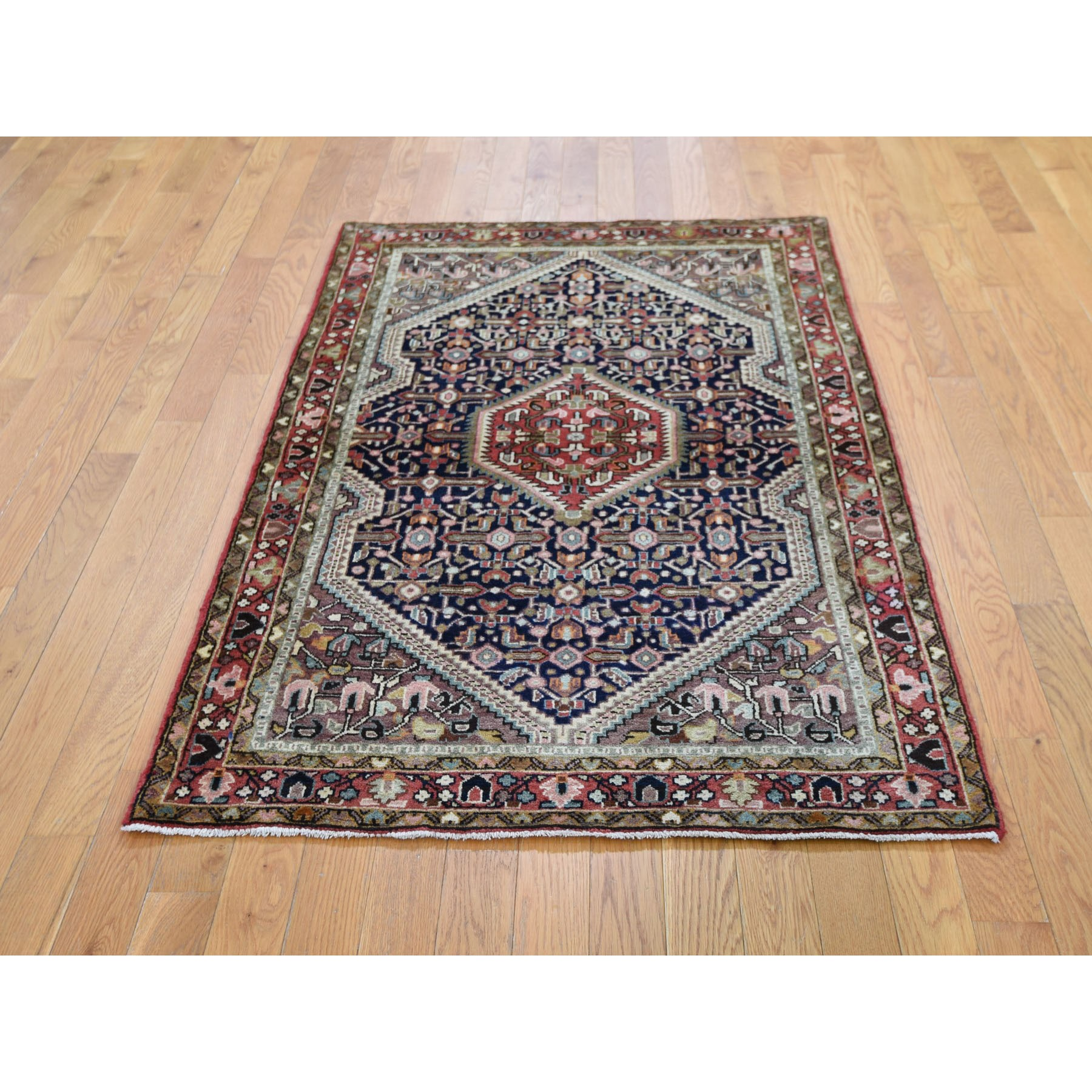 "3'5""x5'7"" Navy Blue Vintage Persian Tabriz Pure Wool Hand Woven Oriental Rug"