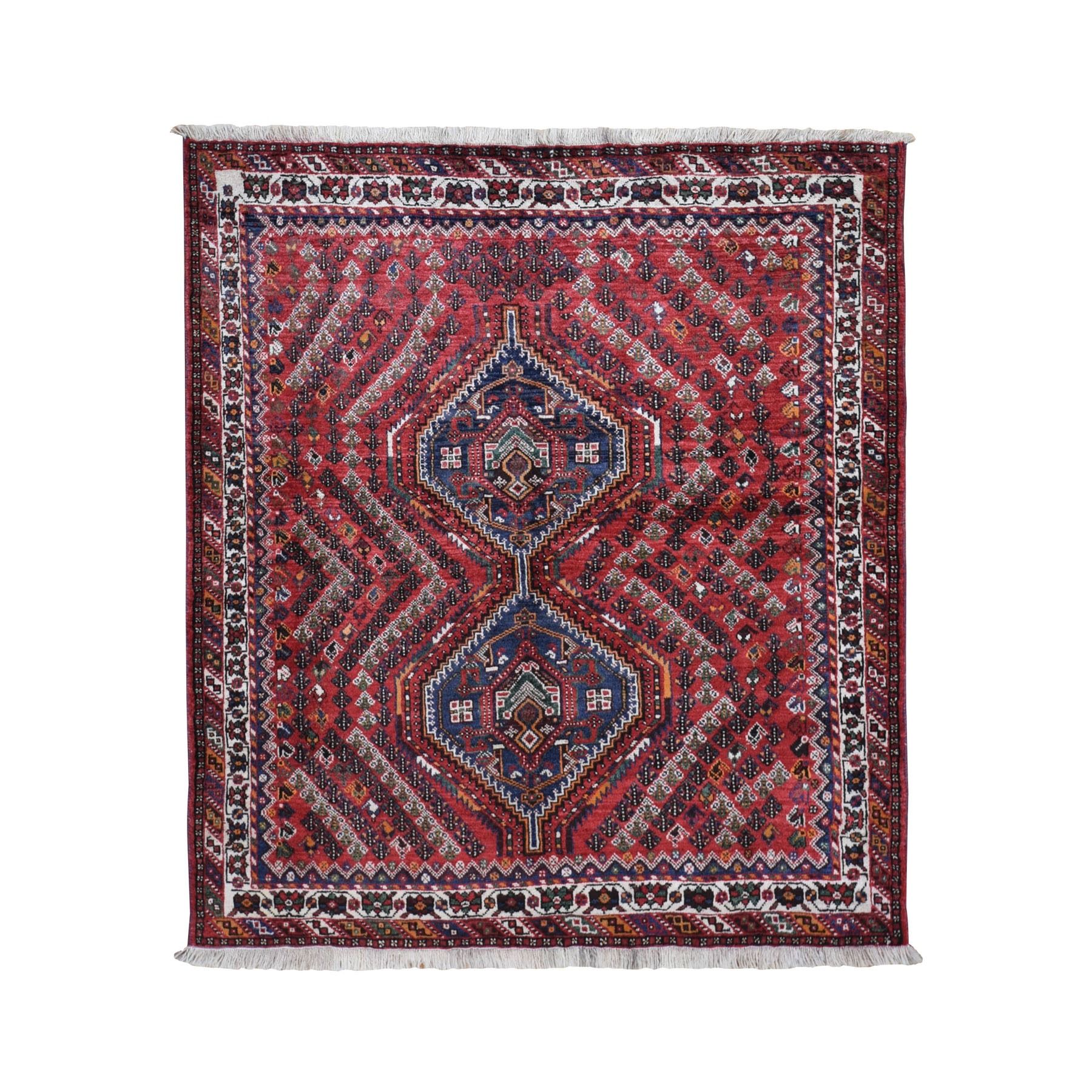 "5'7""x6'2"" Red Squarish New Persian Shiraz Pure Wool Hand Woven Oriental Rug"
