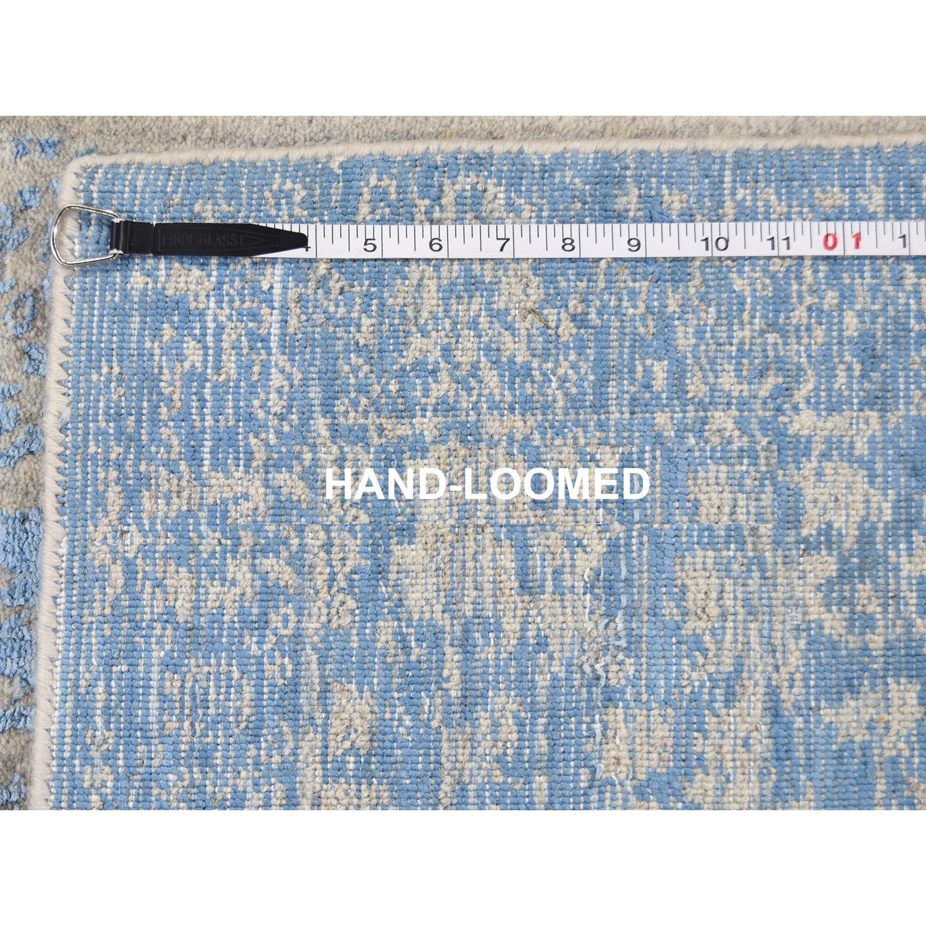 "2'5""x8' Jacquard Hand Loomed Blue Broken Cypress Tree Design Silken Thick And Plush Runner Oriental Rug"