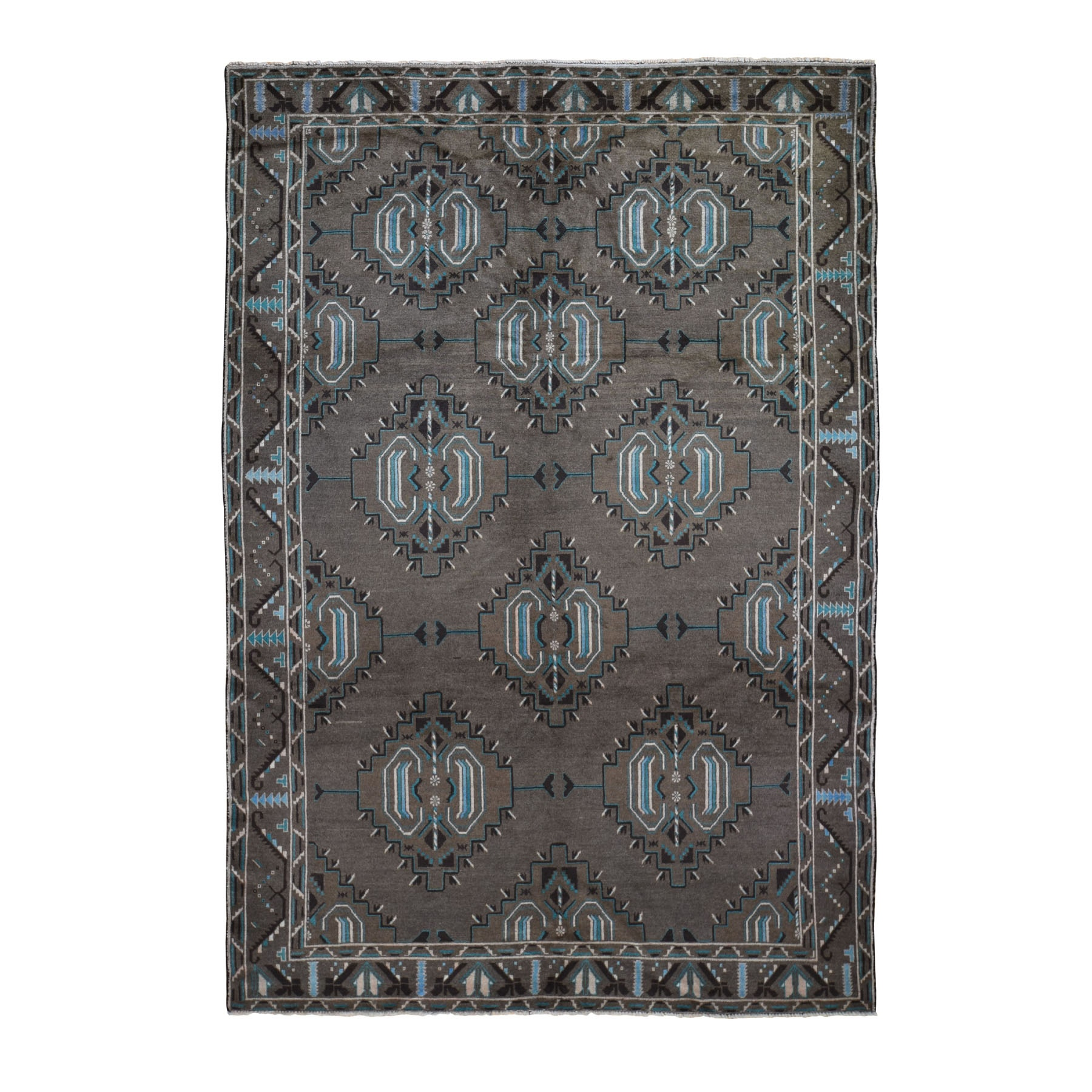 "6'8""x9'9"" Washed Out With Natural Colors Baluch Hand Woven Pure Wool Oriental Rug"