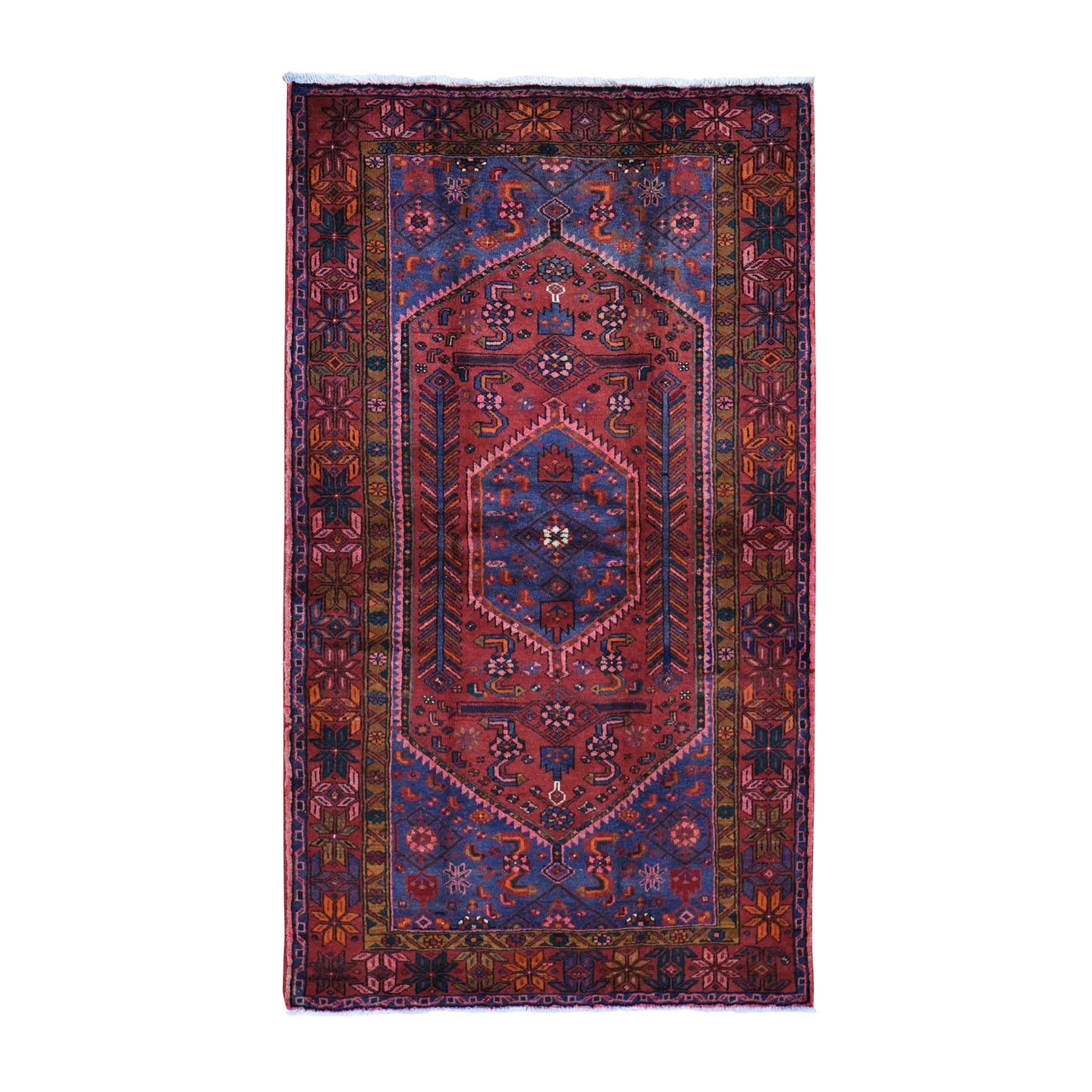 "4'5""x7'1"" Red New Persian Hamadan Pure Wool Hand Woven Oriental Rug"